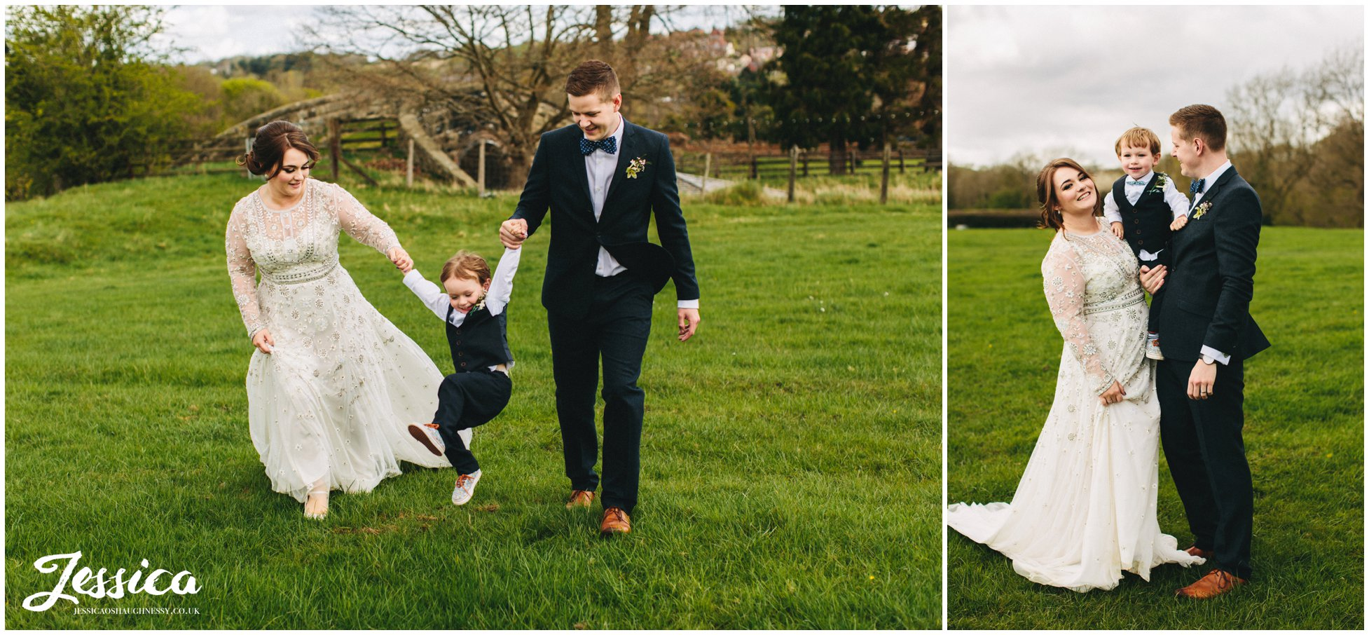 bride, groom & their son in the field at tower hill barns wedding venue, north wales