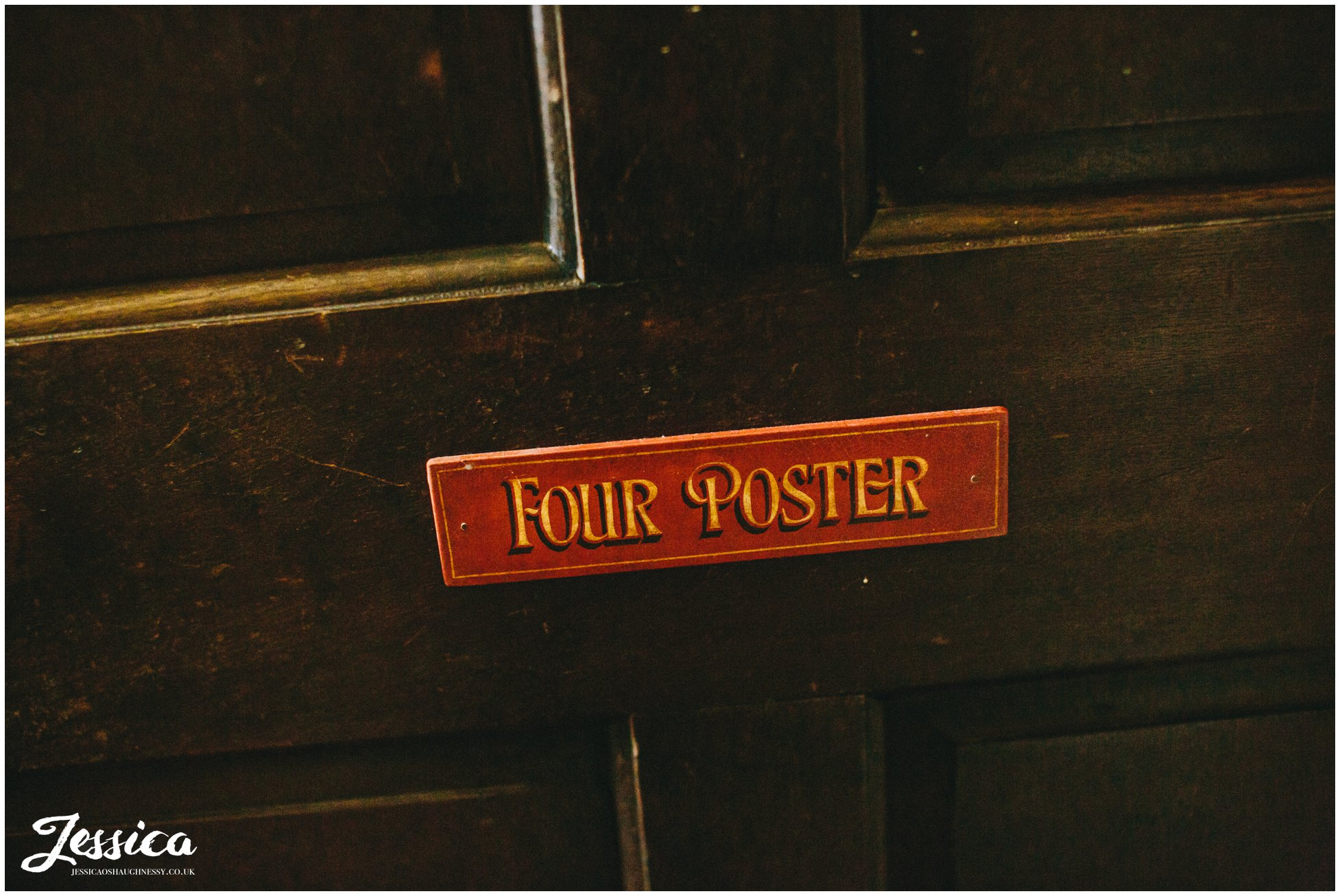 door sign for four poster room in trevor hall, north wales