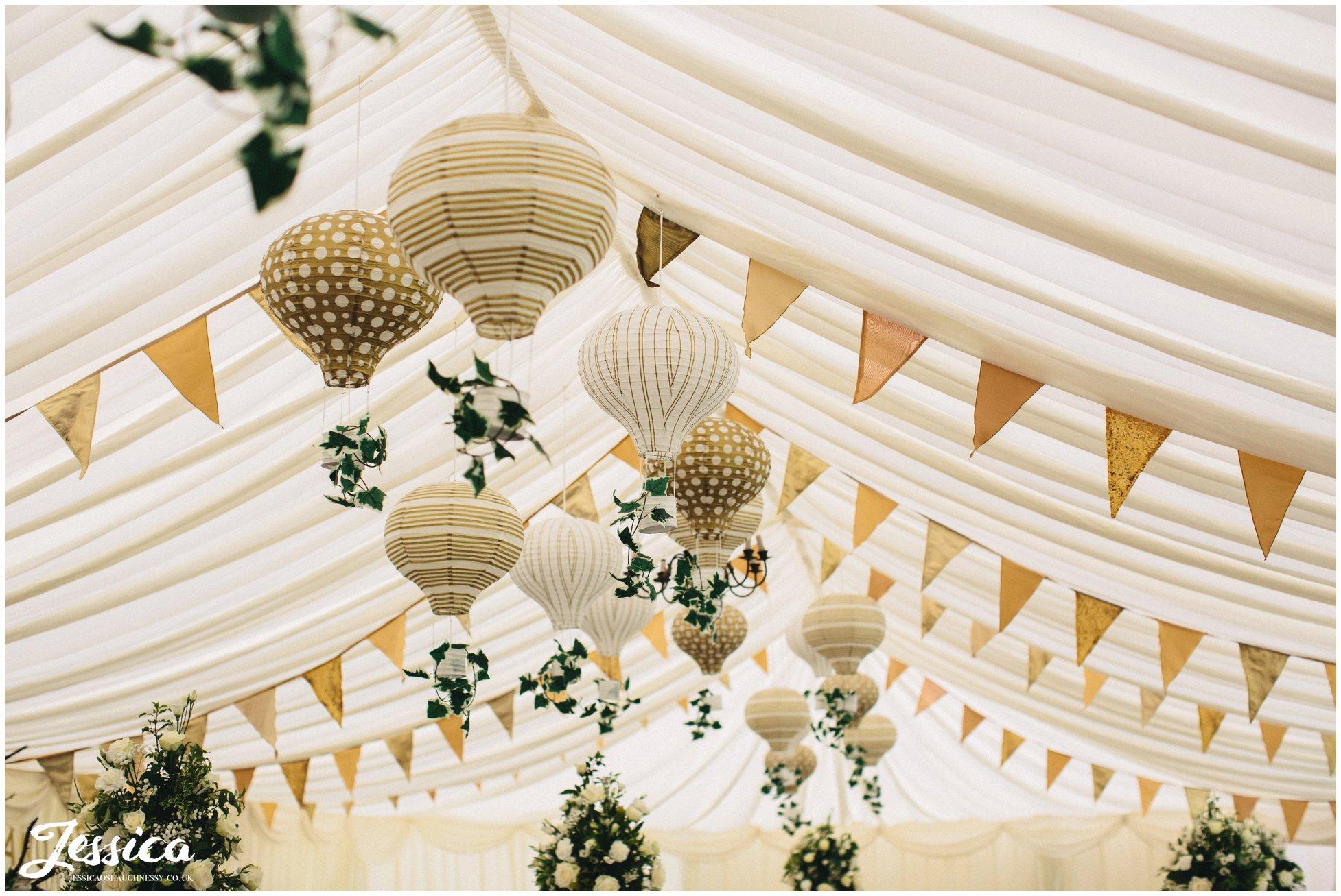 hot air balloon lanterns for a 20's wedding at trevor hall