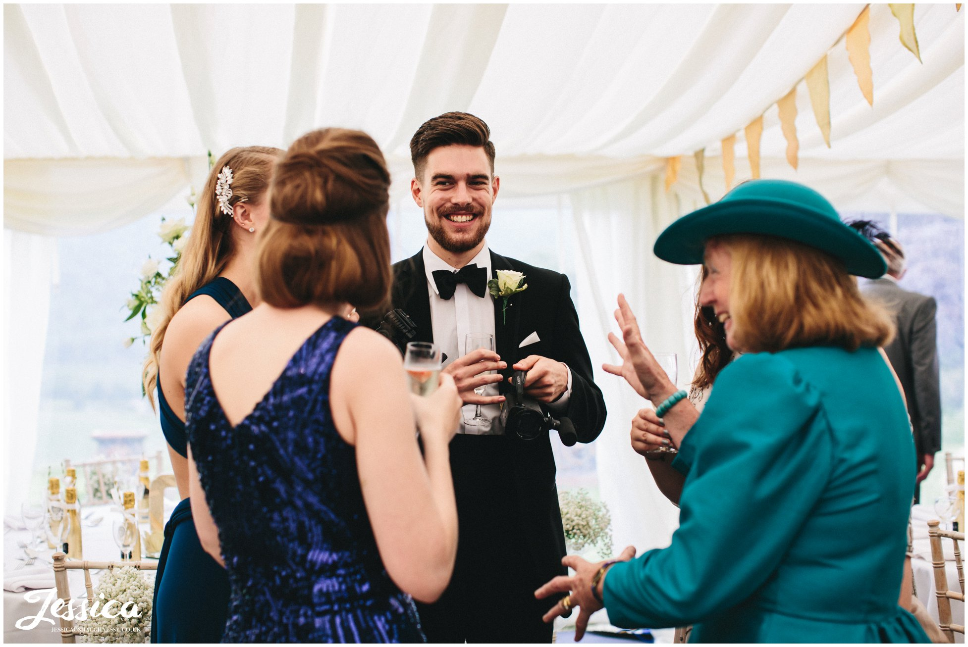 guests enjoy themselves after the trevor church ceremony in north wales
