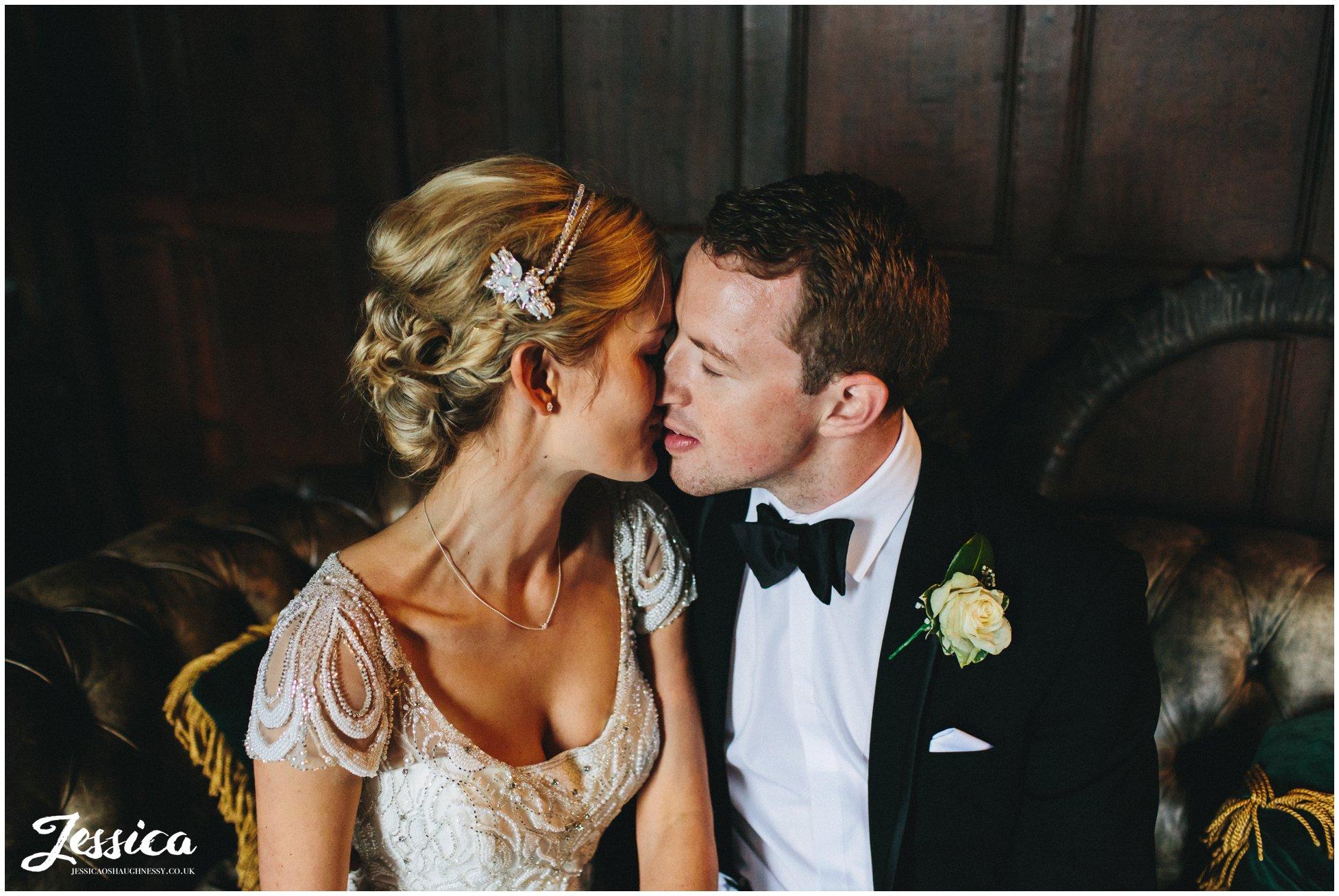 newly wed's kissing inside trevor hall