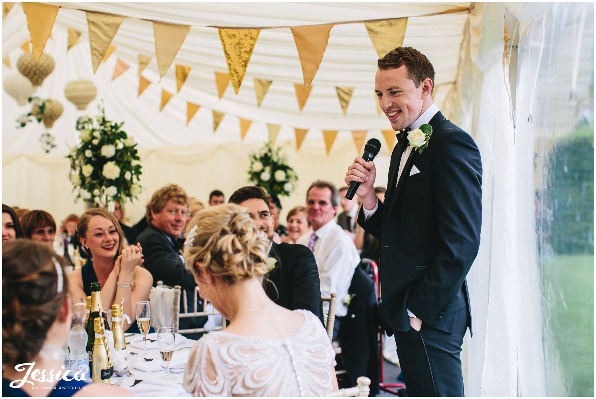 groom during his speech in north wales