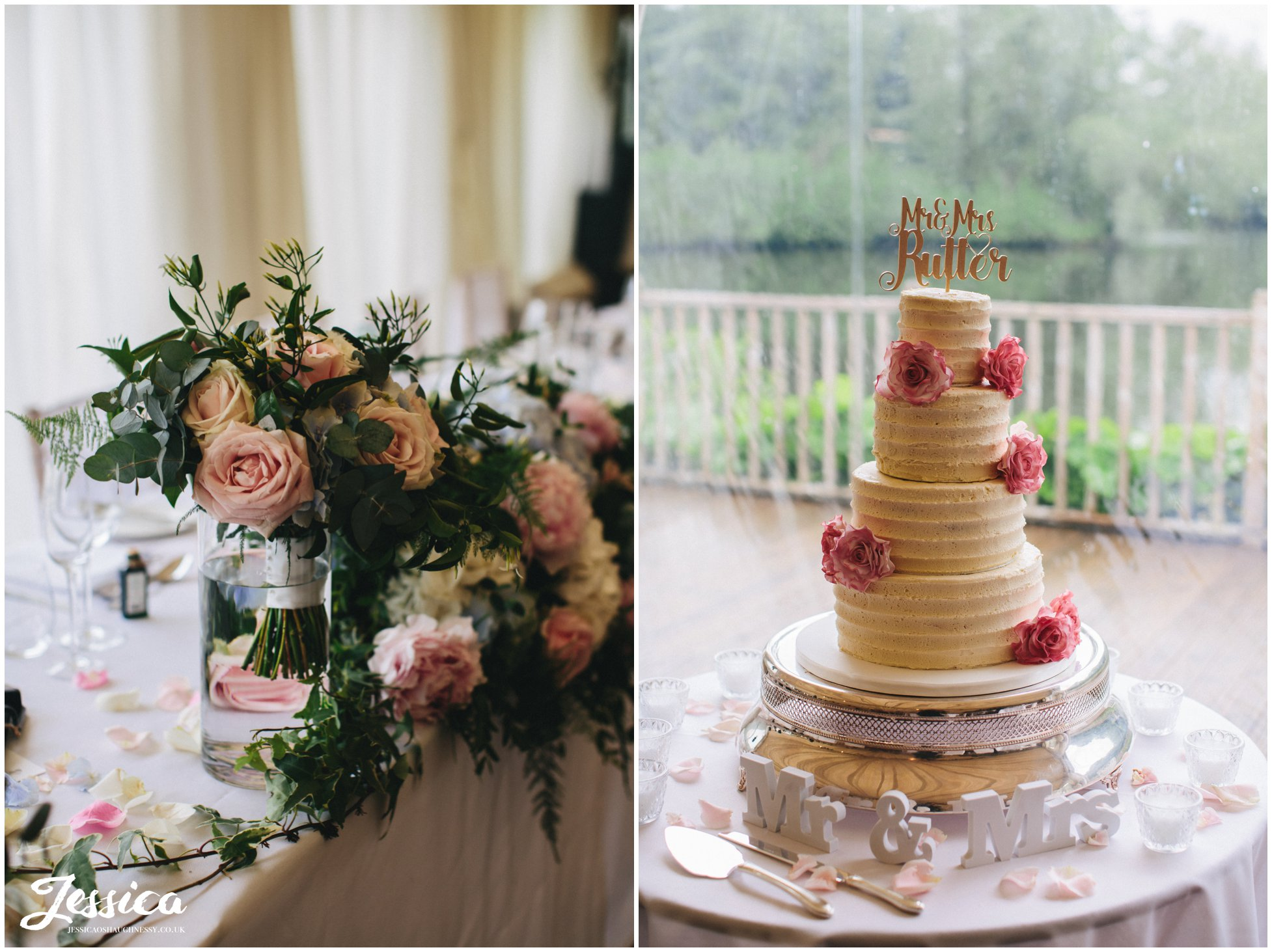 wedding cake and flowers decorate the lakeside marquee at thornton manor, a wirral wedding venue