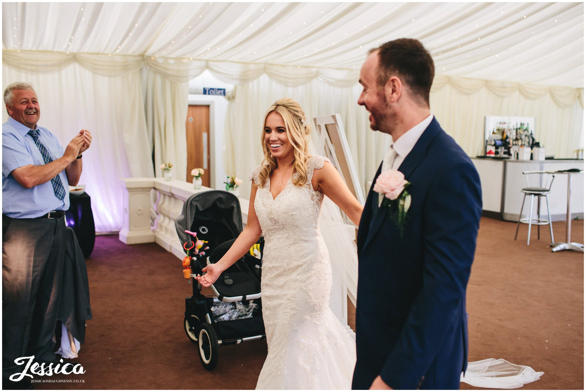 bride & groom announced into wedding room for their wedding breakfast