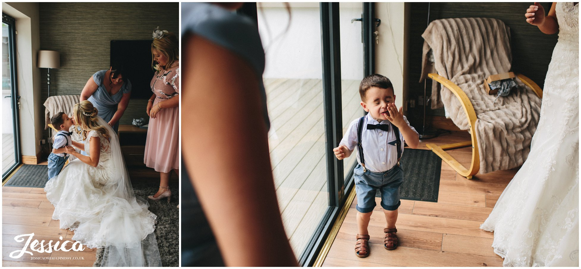 page boy wipes off kiss from the bride - thornton manor wedding