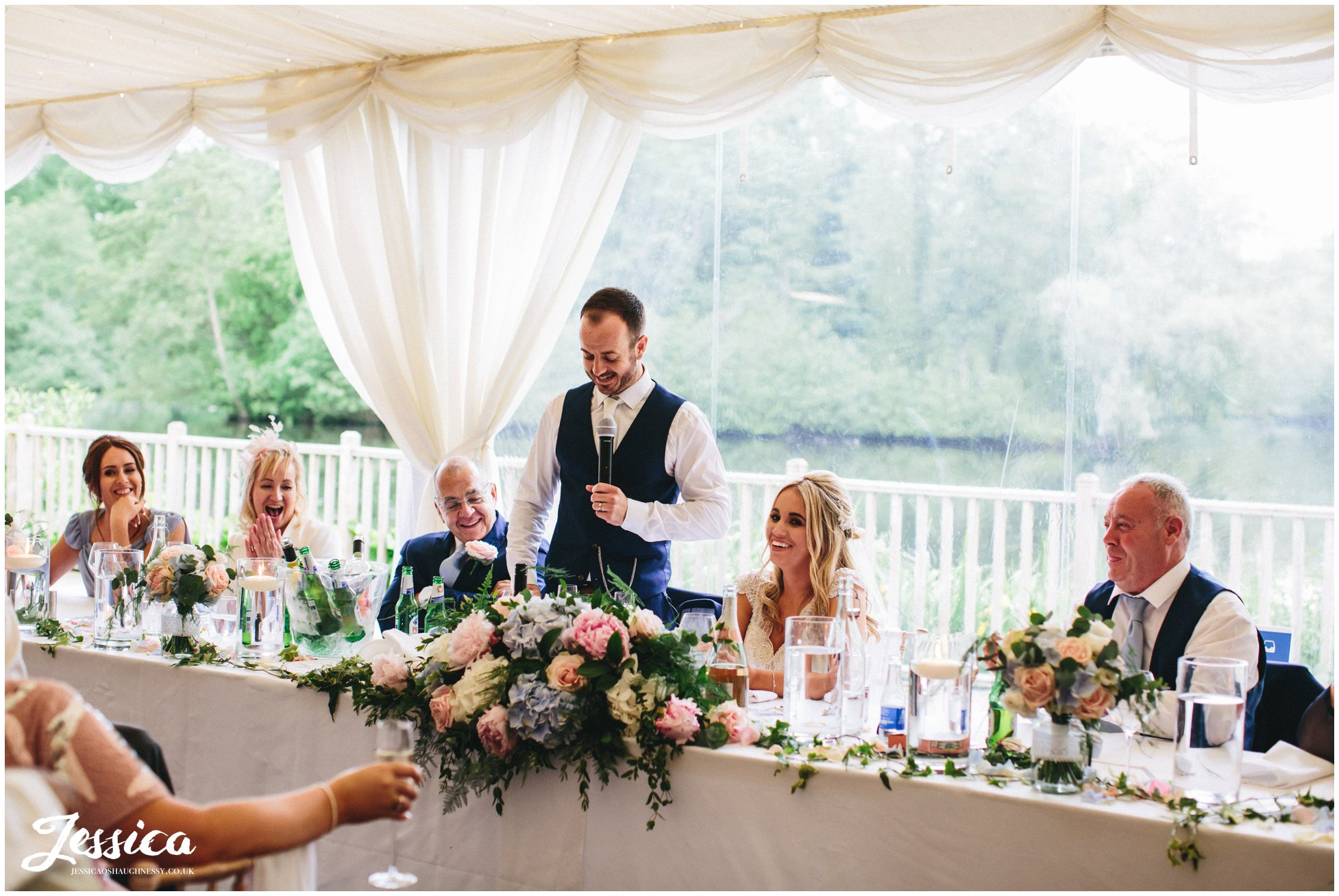 groom's speech in the lakeside marquee, thornton manor