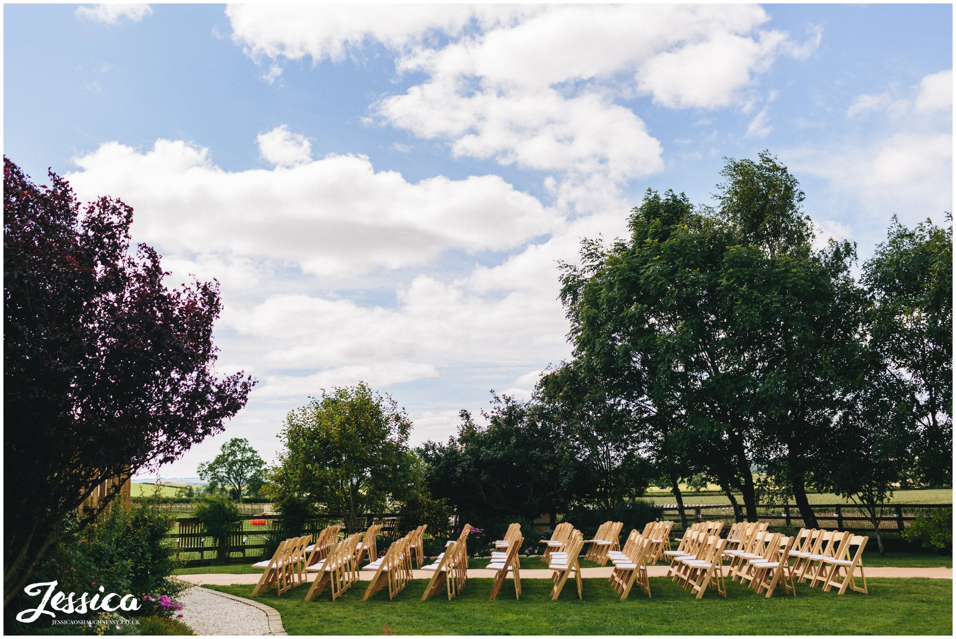 chairs laid out ready for the innisfree wedding ceremony in yorkshire