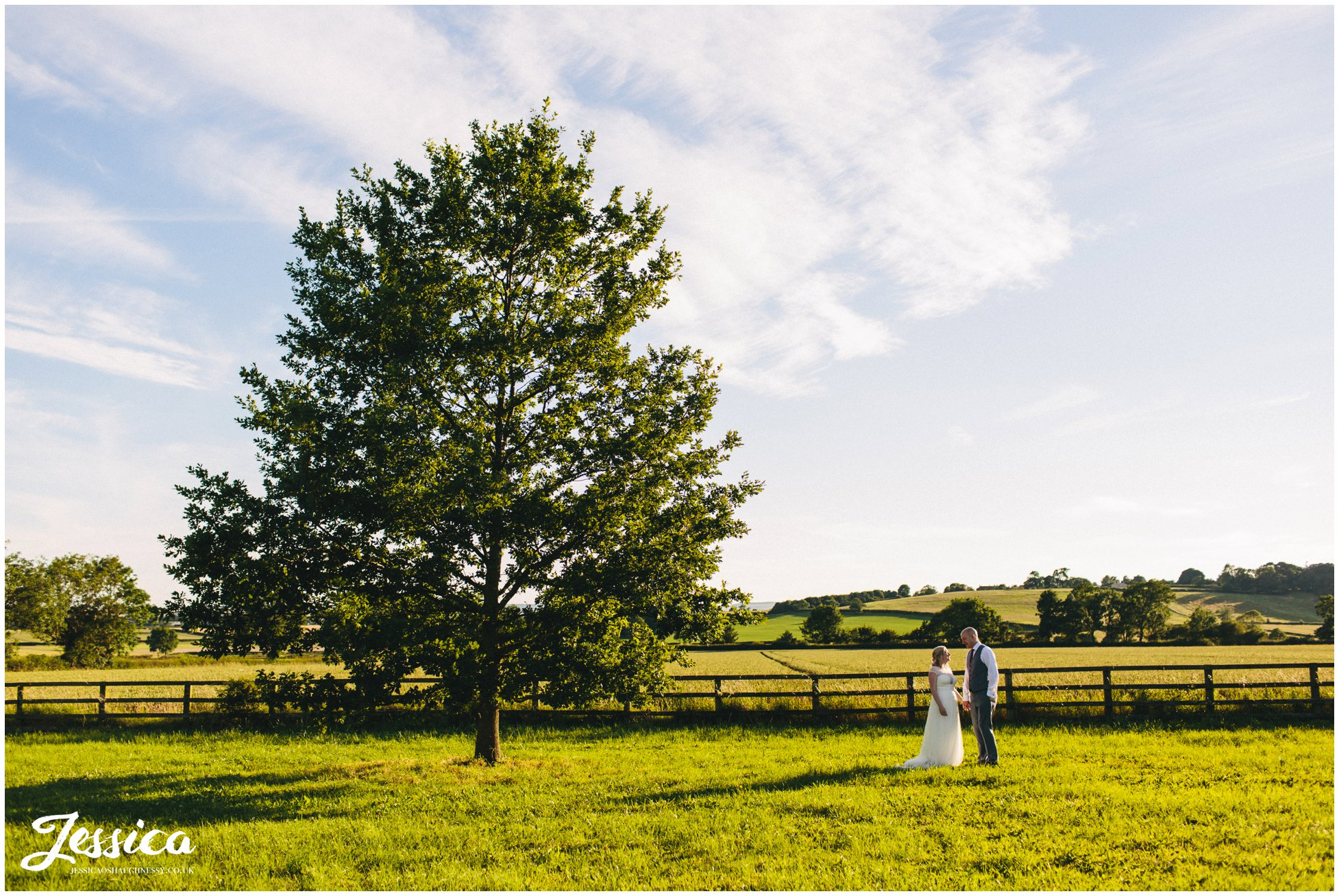 newly wed's stand next to a tree in the distance