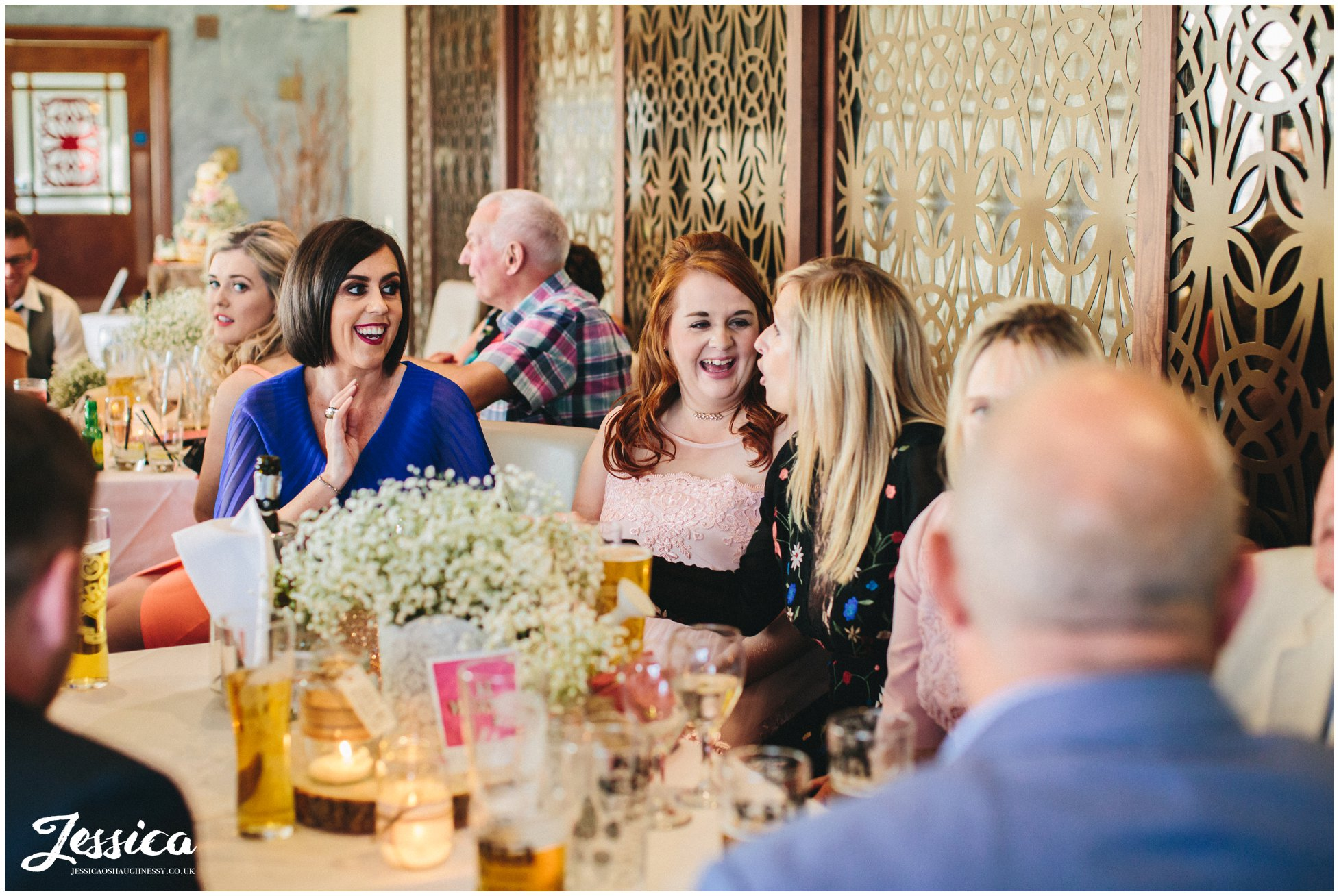 guests enjoying the wedding reception on the wirral