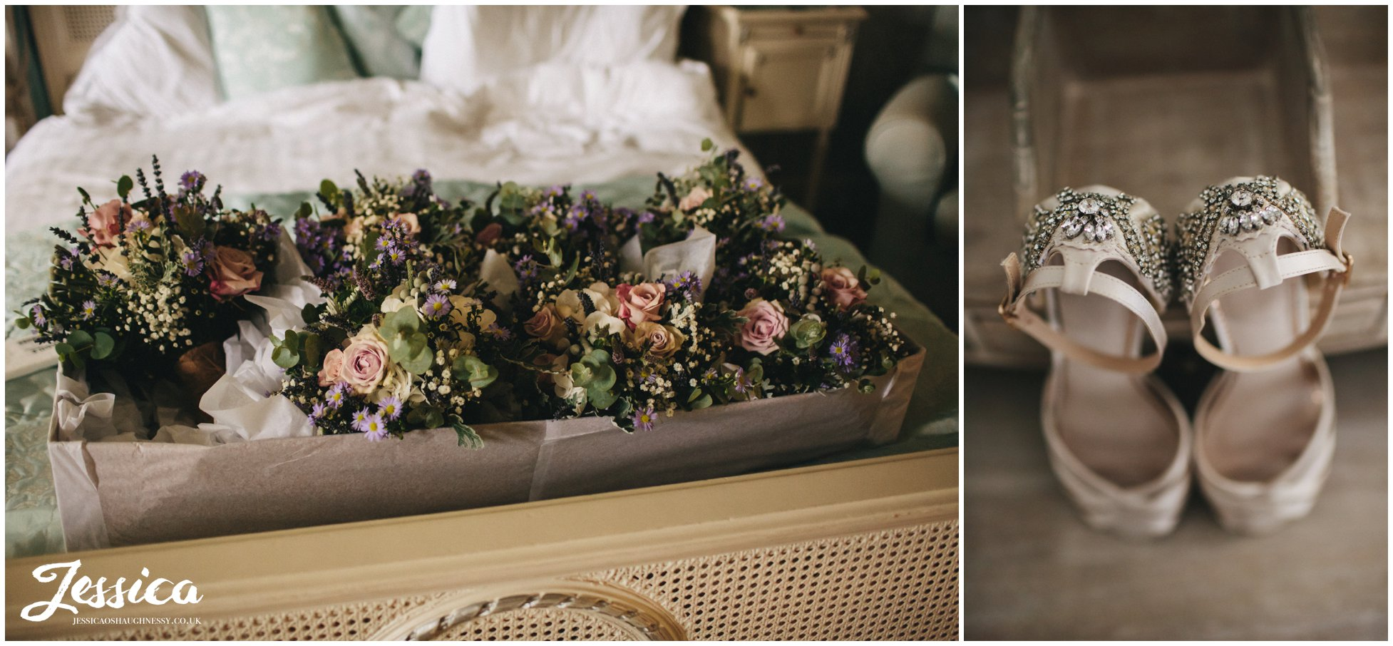 wedding bouquets and brides shoes
