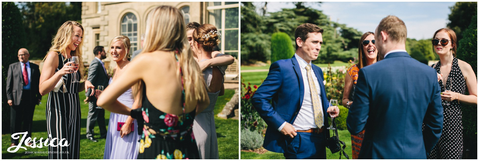 guests enjoying the sunshine outside prestwold hall