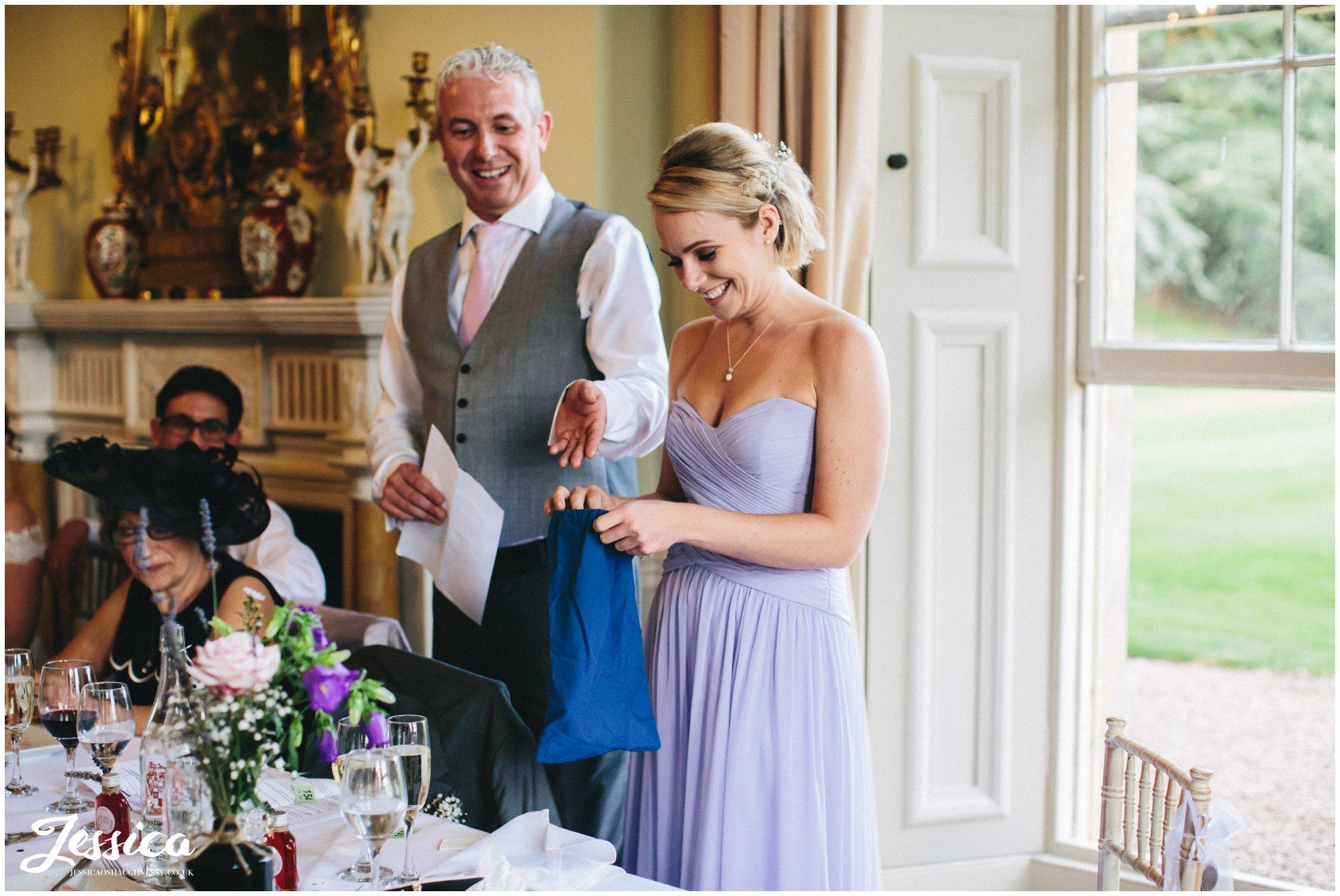 bridesmaid draws wedding raffle