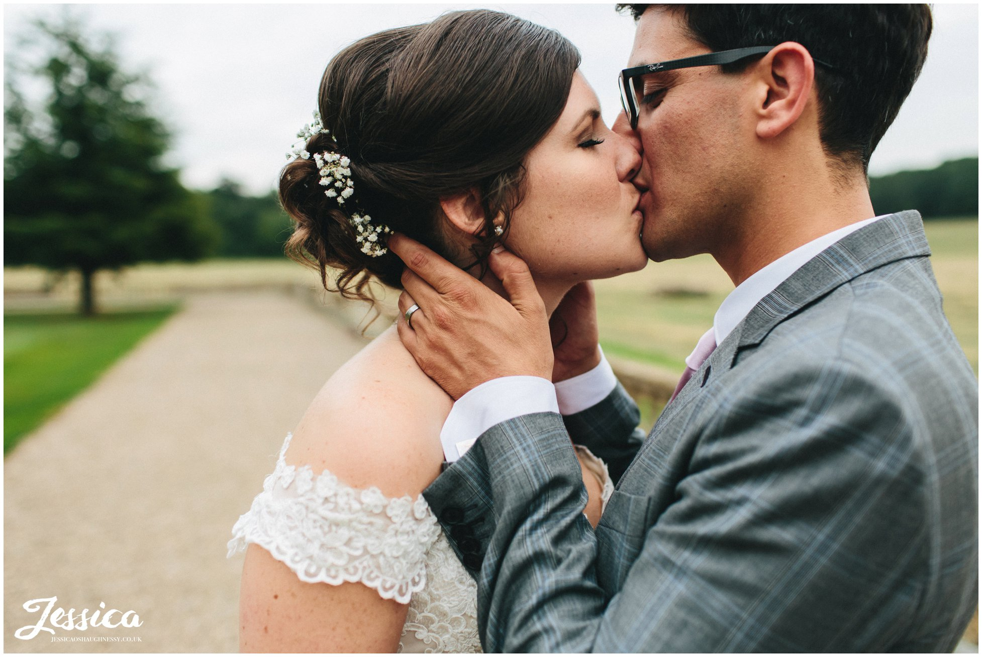 newly wed's kissing