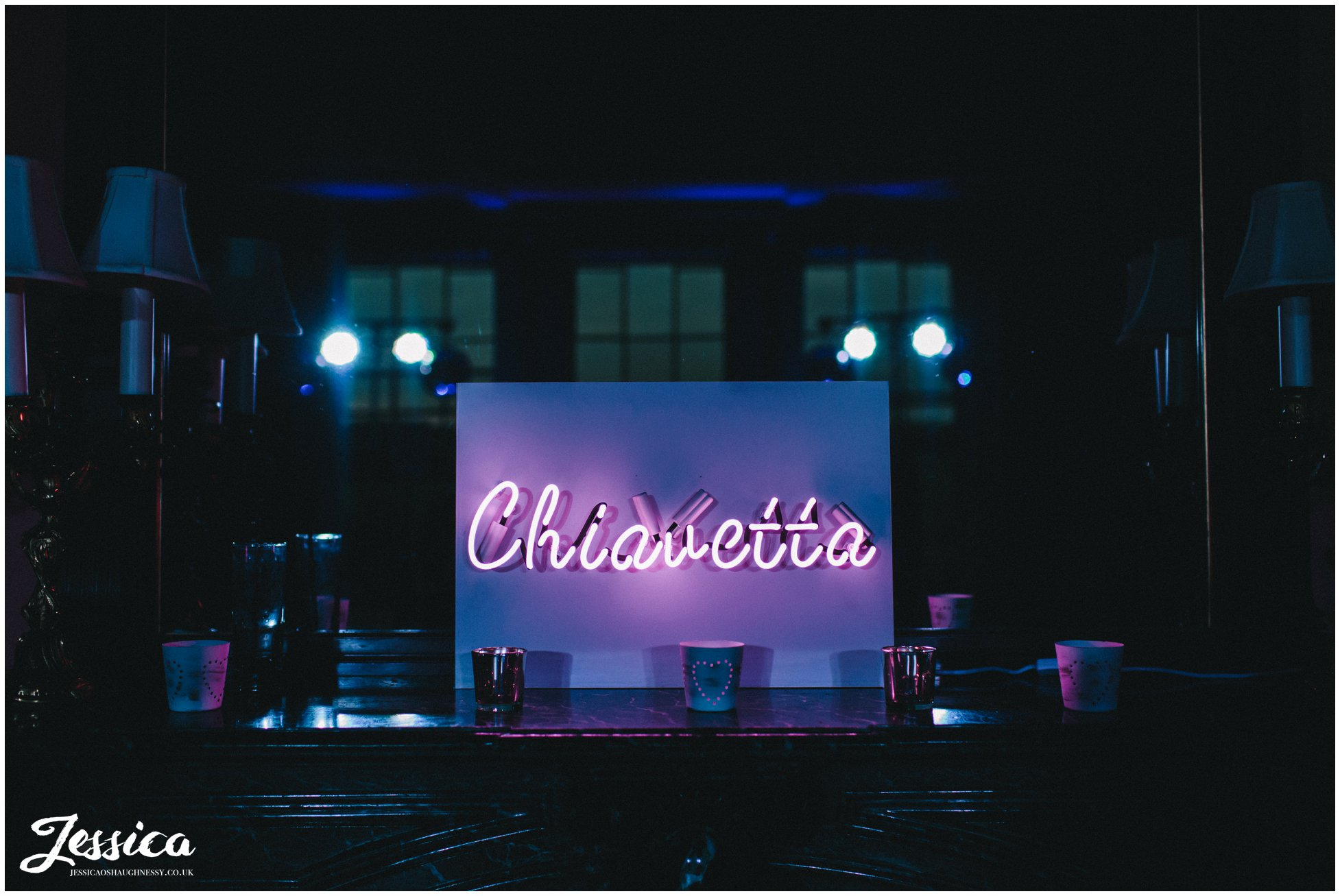 couples surname in neon lights - prestwold hall wedding