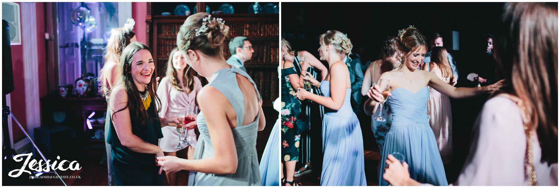 bride & grooms friends dancing