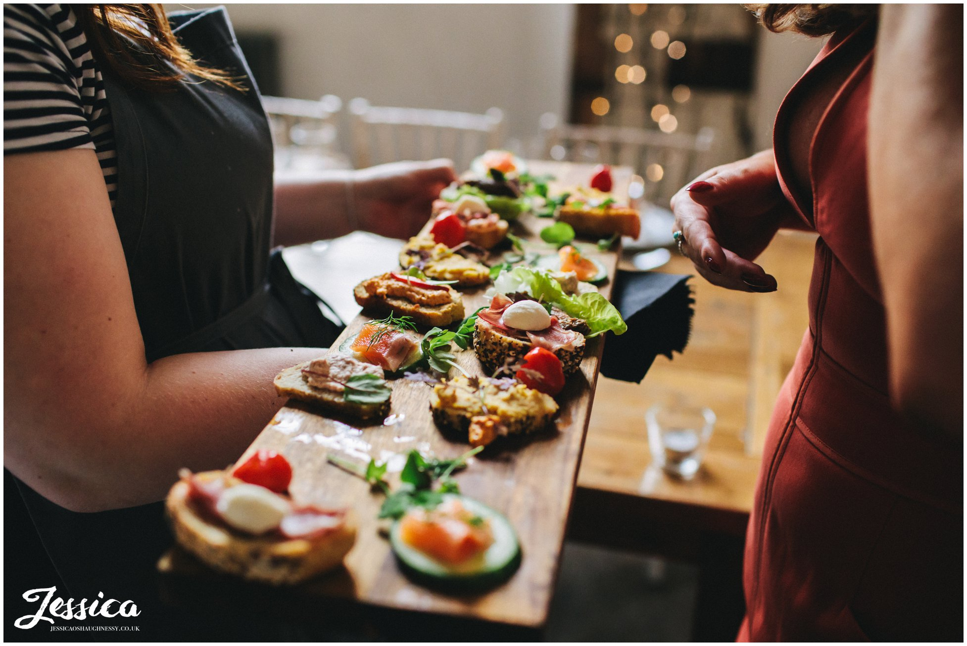 canapes are served to the wedding guests