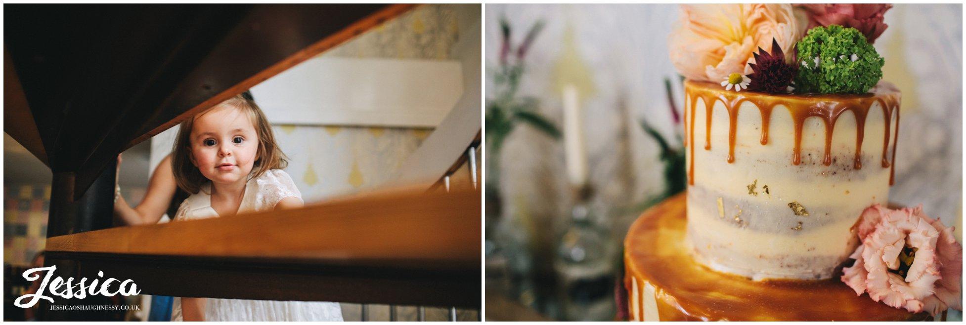 detail shot of quirky wedding cake