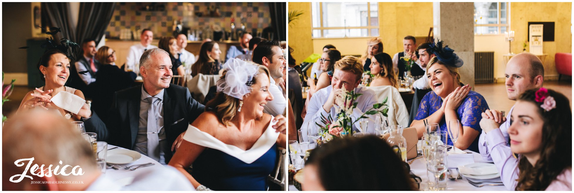guests celebrate during the best mans speech at liverpool city centre wedding