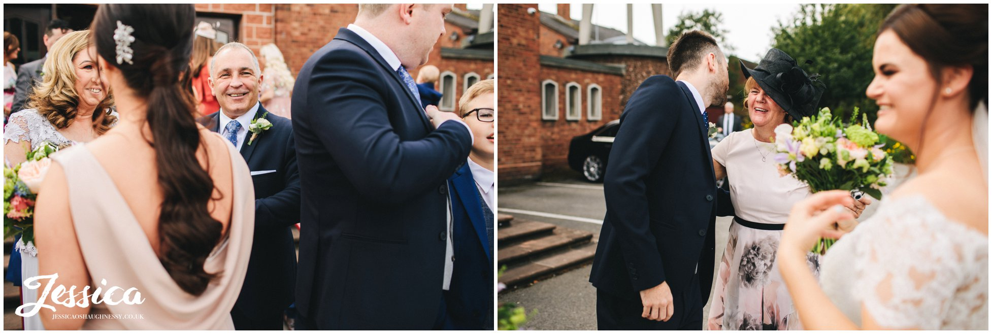 guests congratulate the newly wed's - liverpool wedding photographer