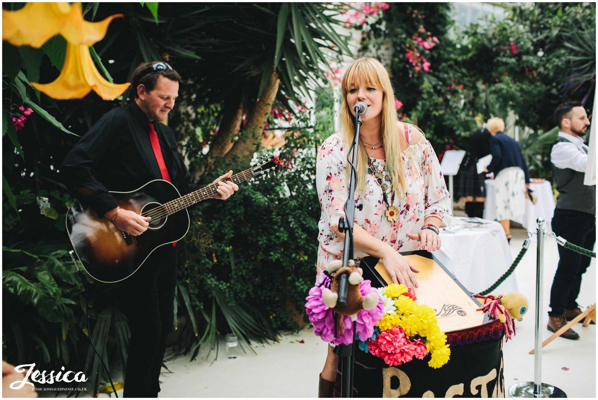 quirky band play for wedding guests