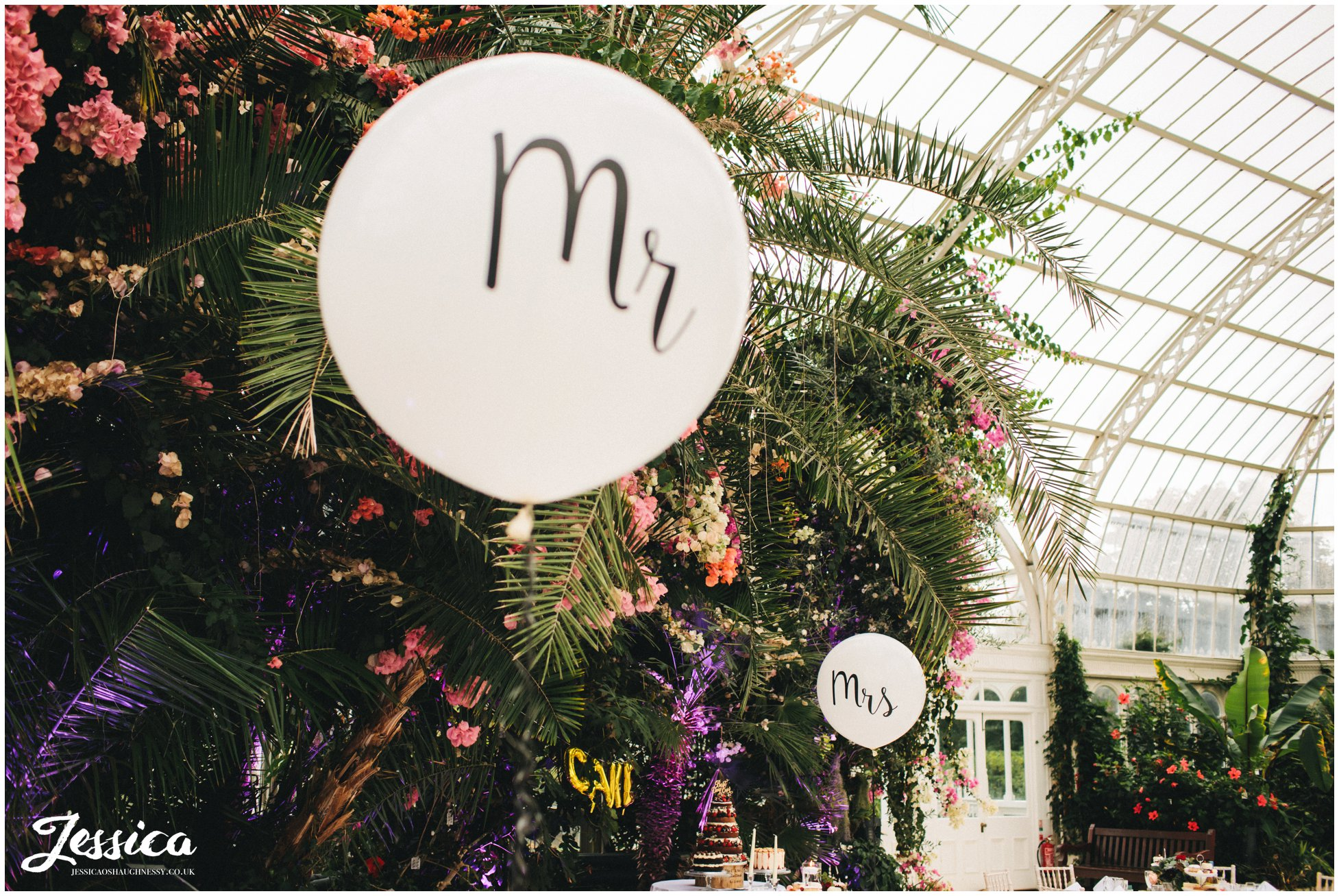 mr and mrs balloons decorate the quirky wedding venue