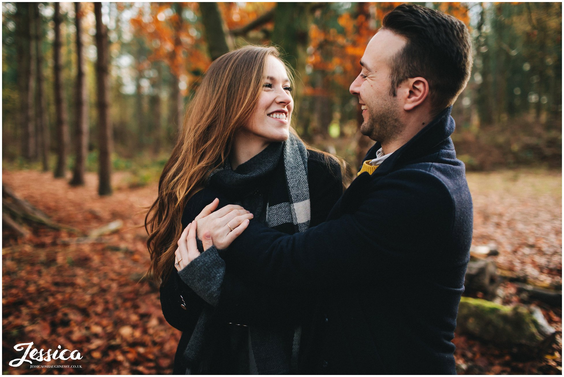 newly engaged couple have autumnal photo shoot