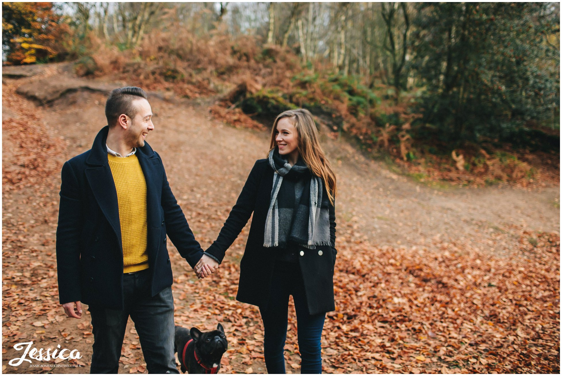 couple looking at each other - an autumnal pre-wedding shoot