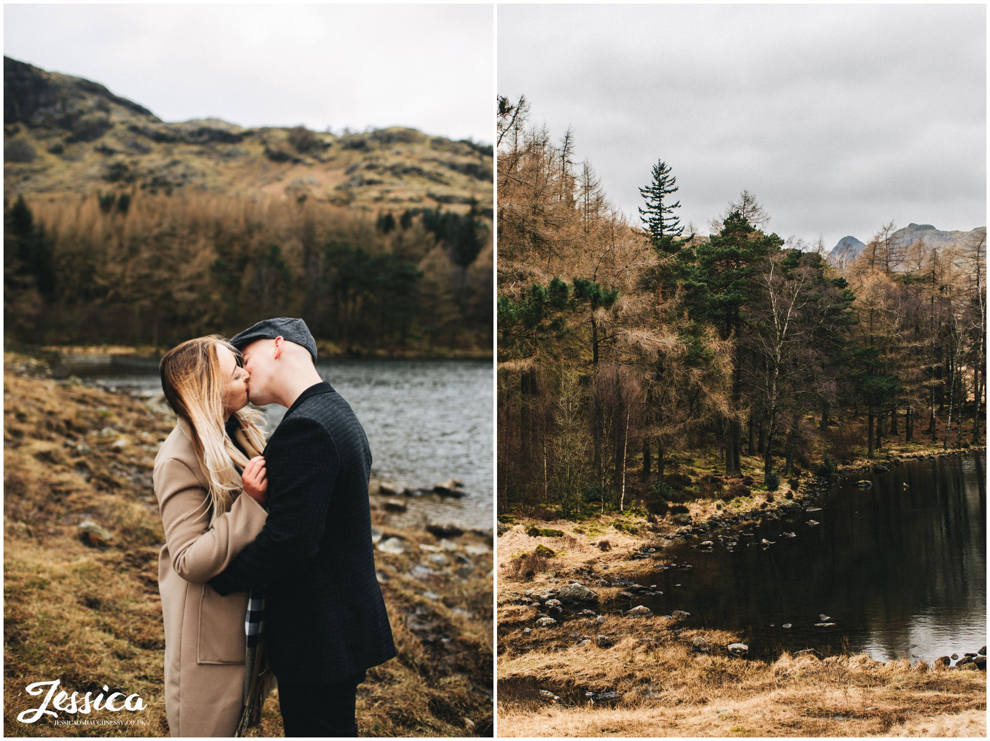 couple kissing on their engagement shoot in the lake district