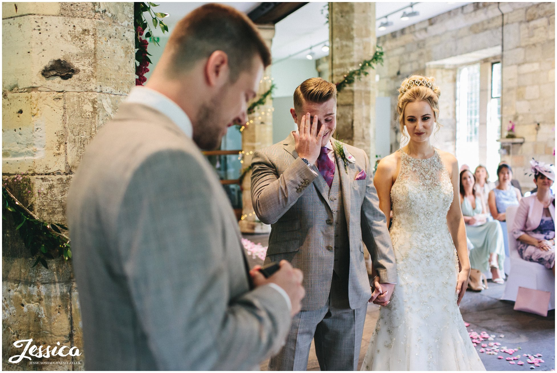 groom gets emotional during wedding ceremony in york