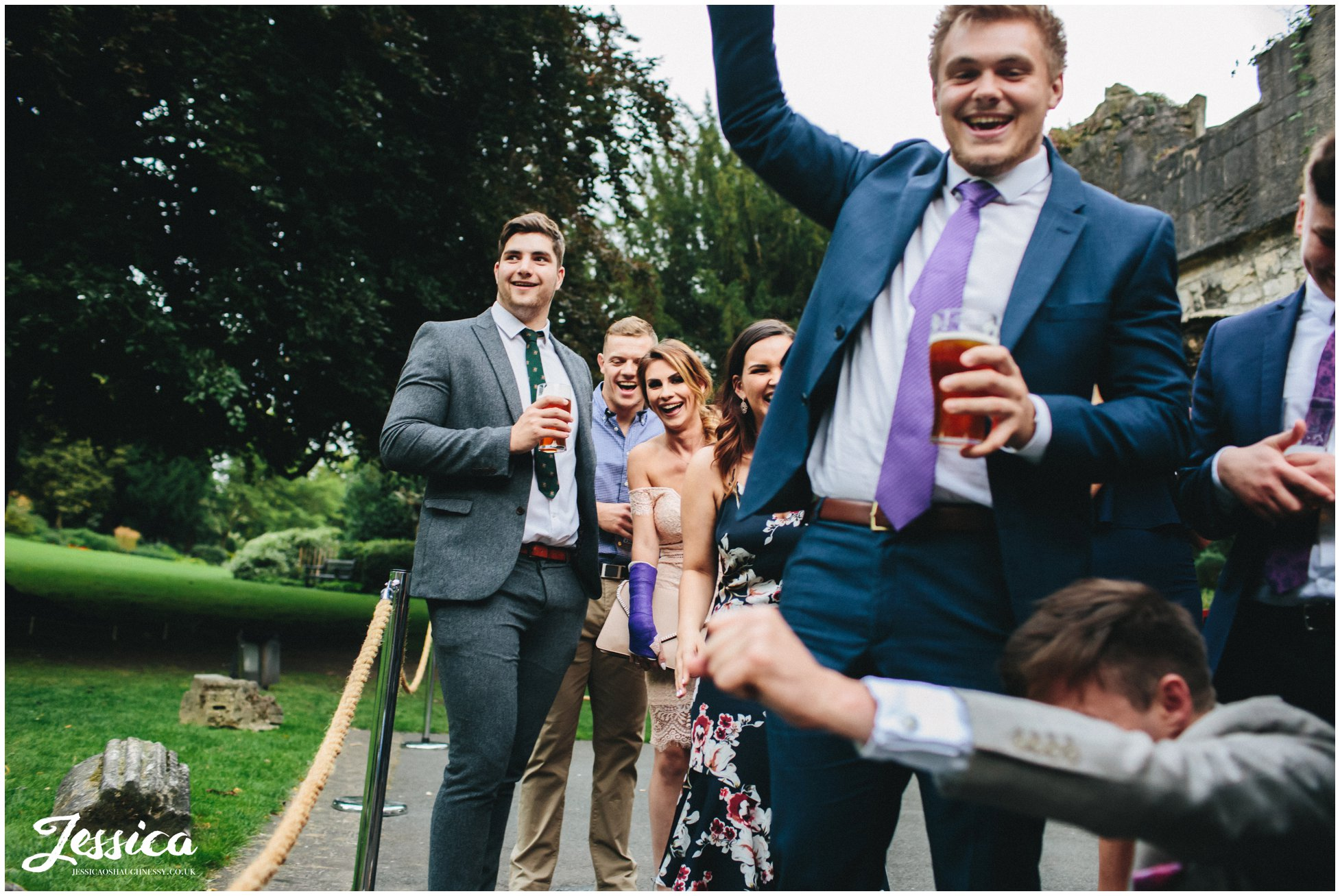 guests cheering at a wedding in york