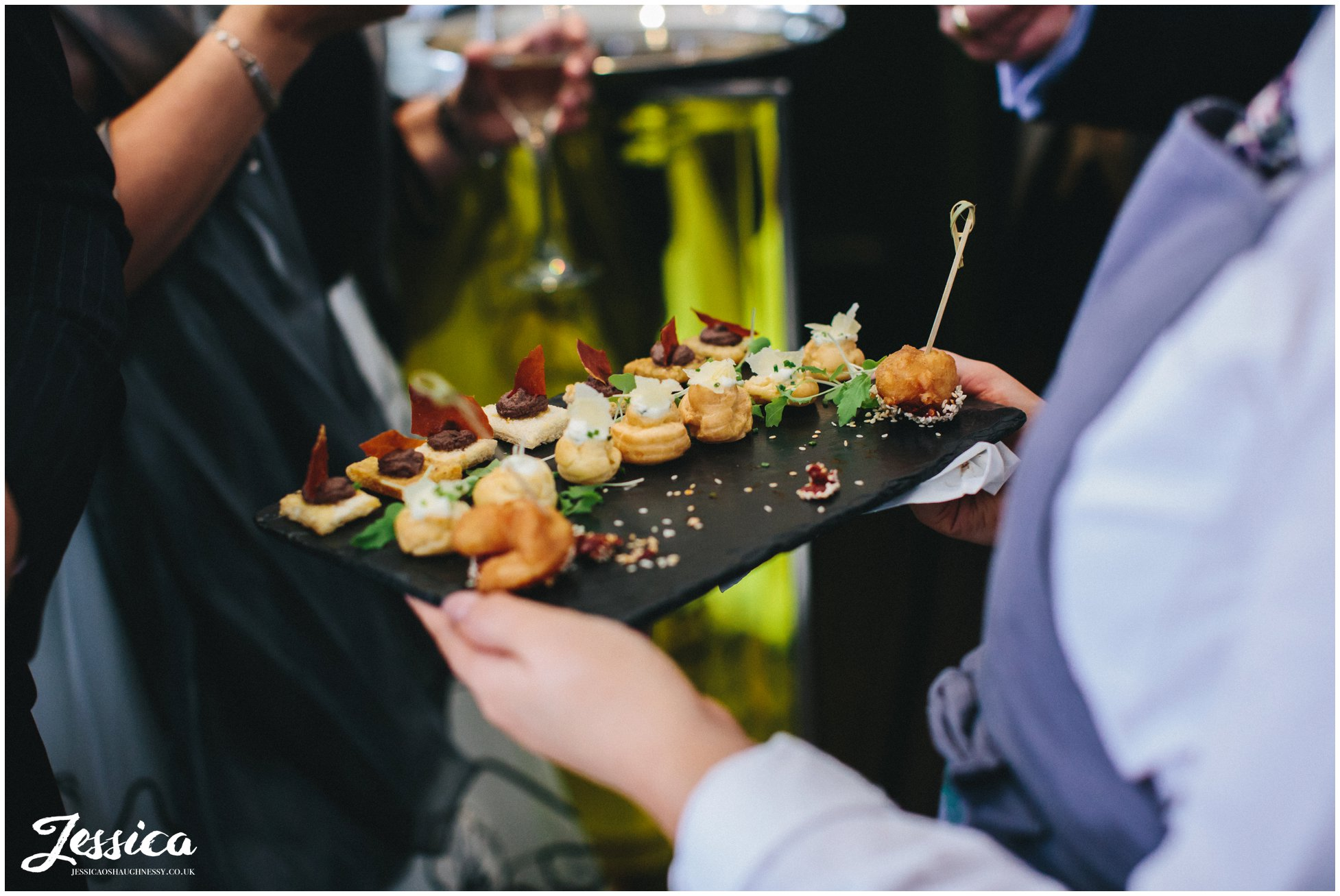 canapes served at oddfellows wedding reception in chester