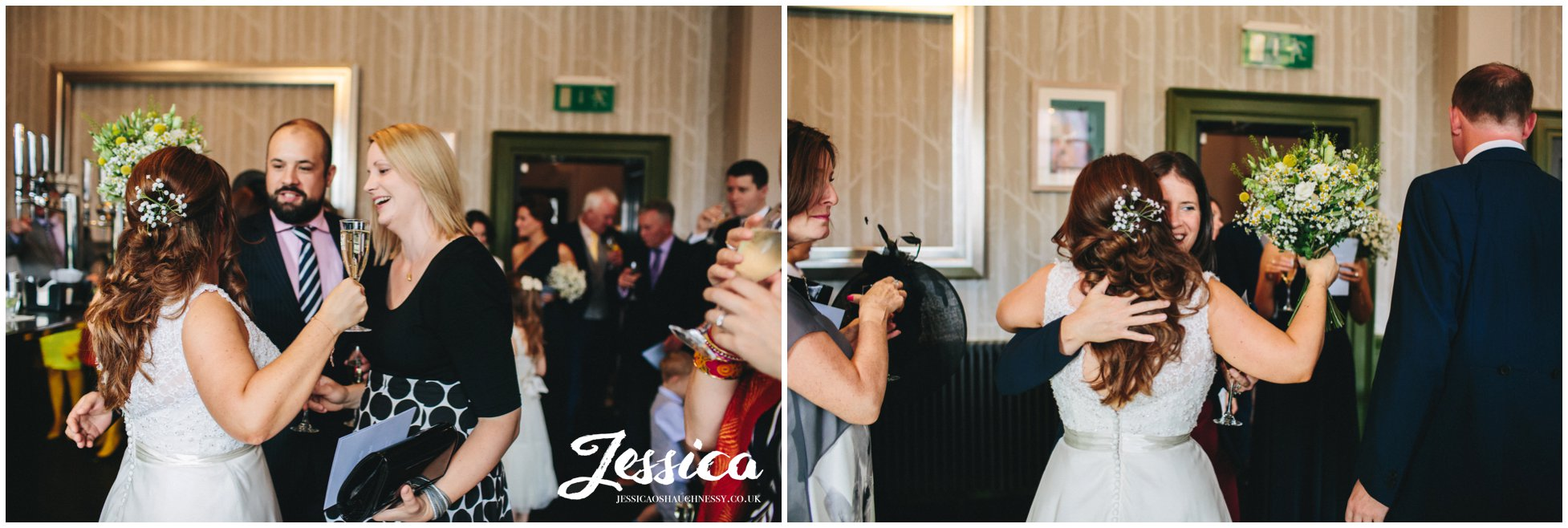 guests congratulate the bride on her chester wedding day