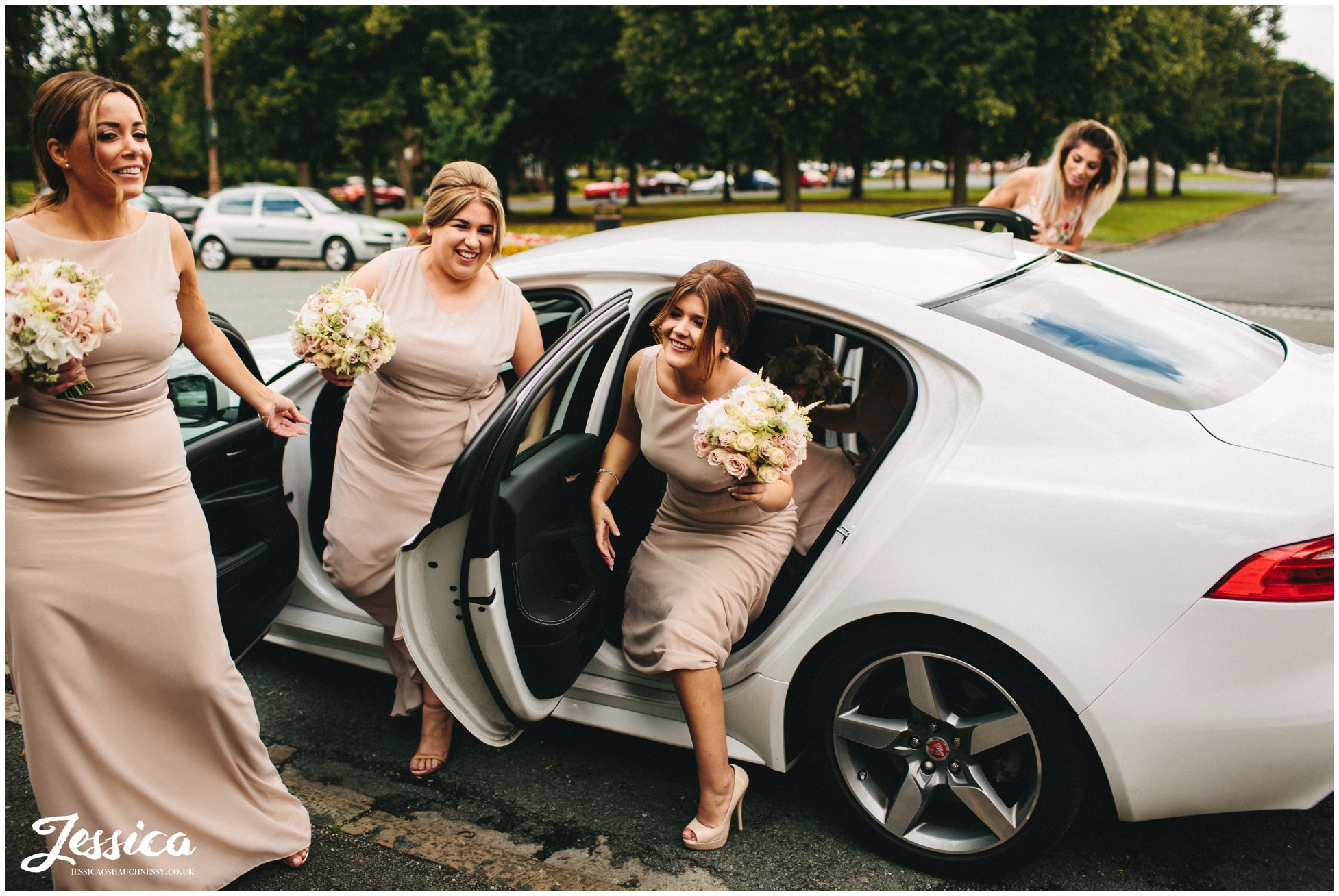 bridesmaids arrive at the church in the wirral