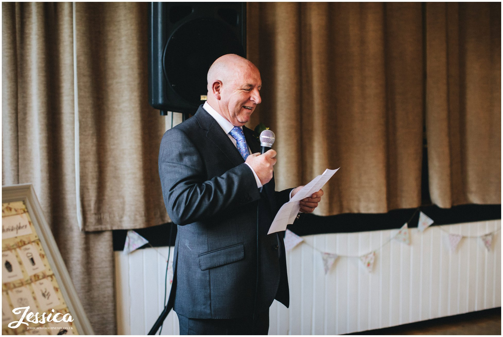 father of the bride delivers in speech