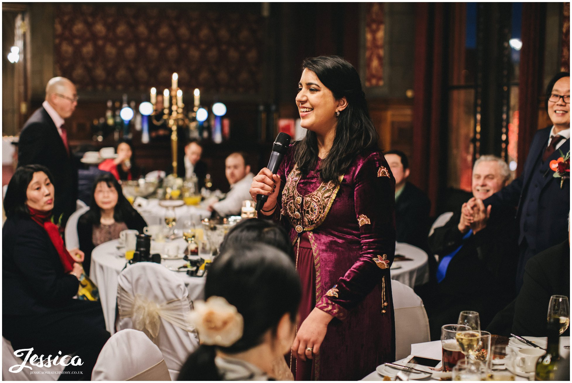 maid of honour gives her speech at manchester town hall