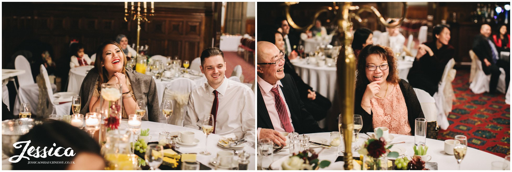 guests laughing during the speeches at a manchester wedding