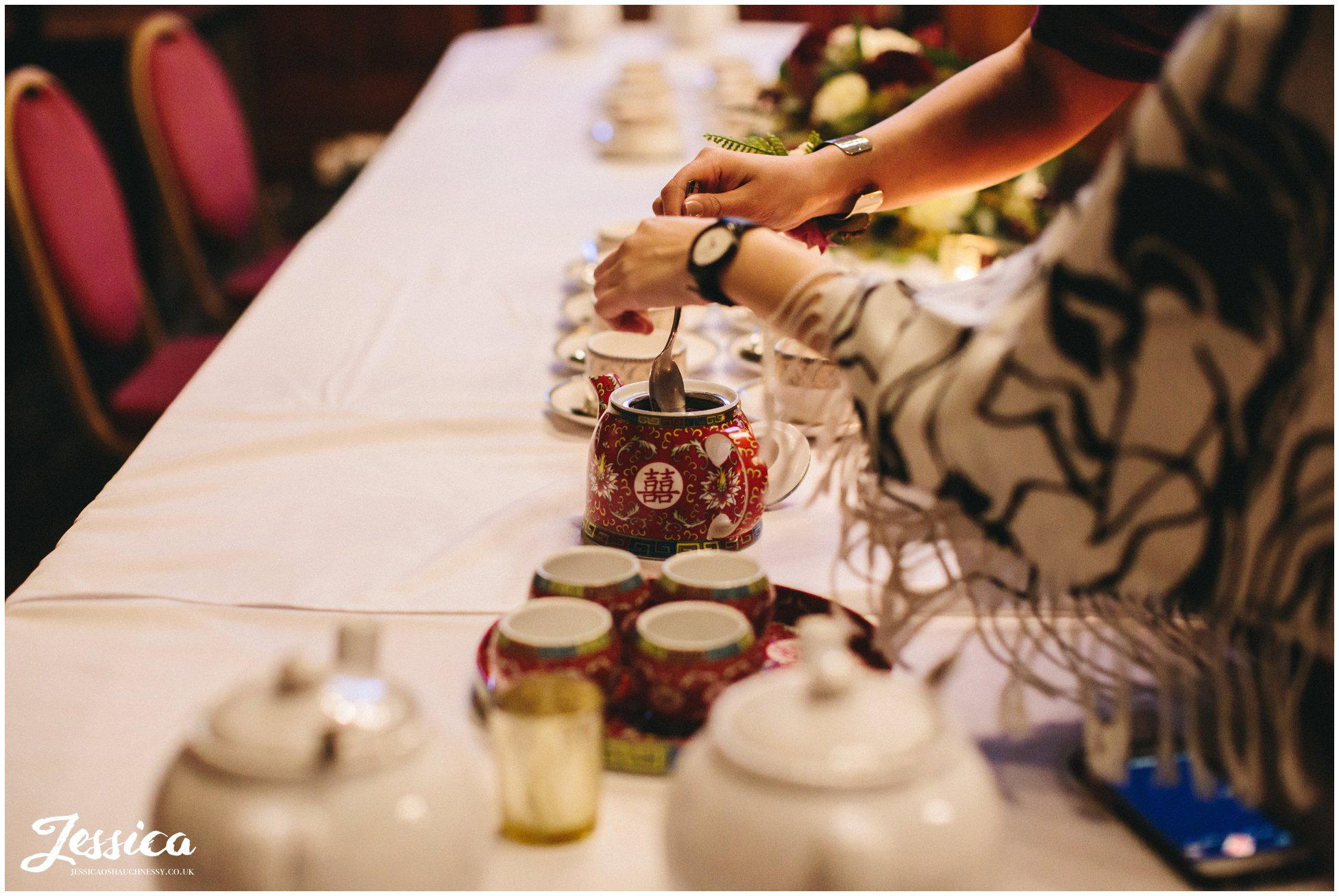 Chinese tea is prepared for the tea ceremony
