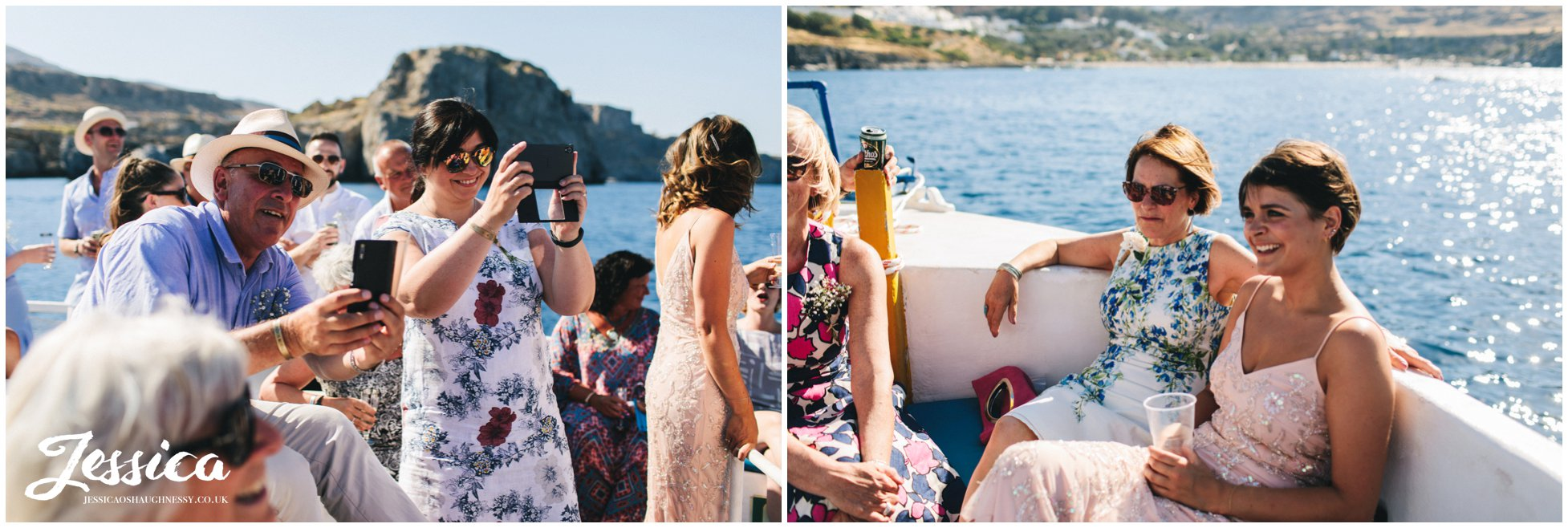 wedding guests enjoy the boat trip around st pauls bay