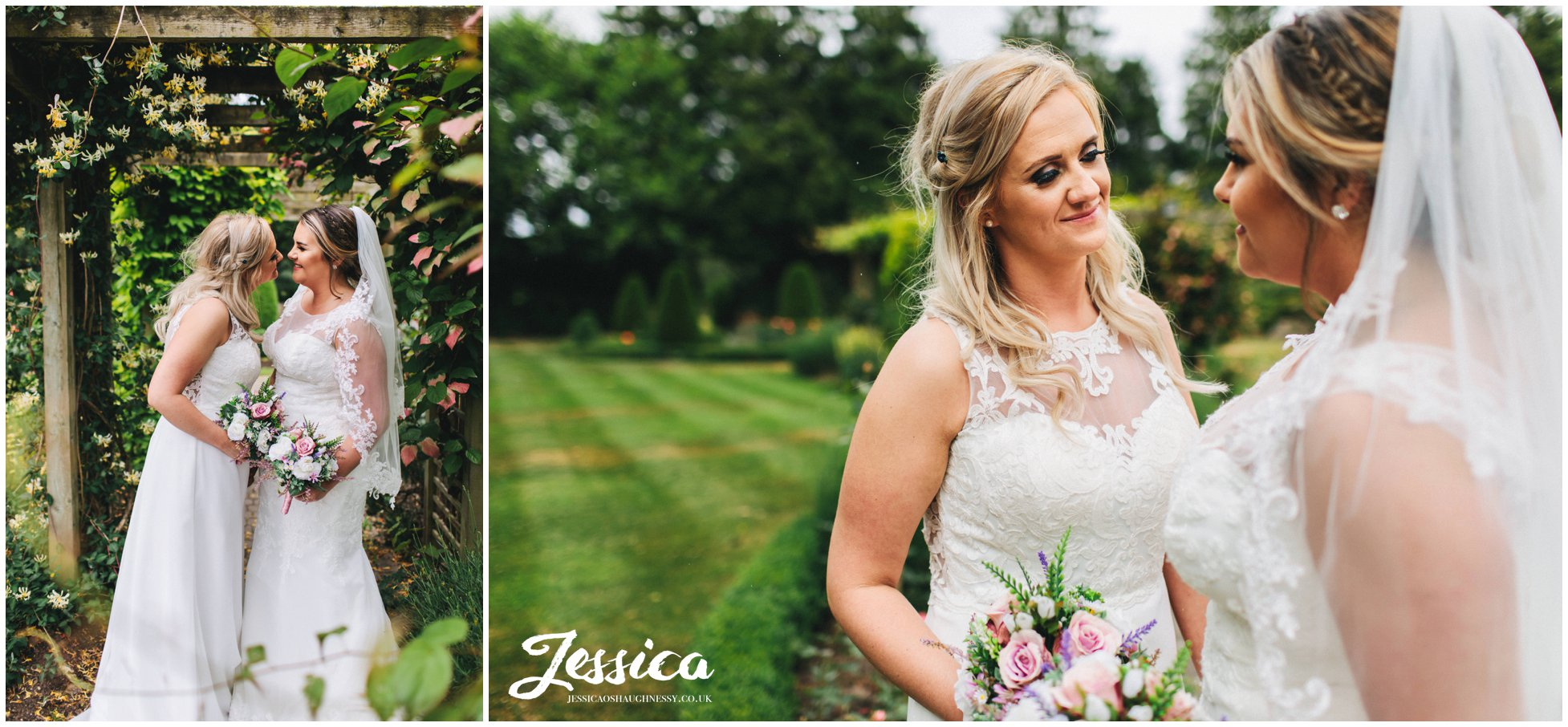 bride looks lovingly at her wife on their wedding day in cheshire