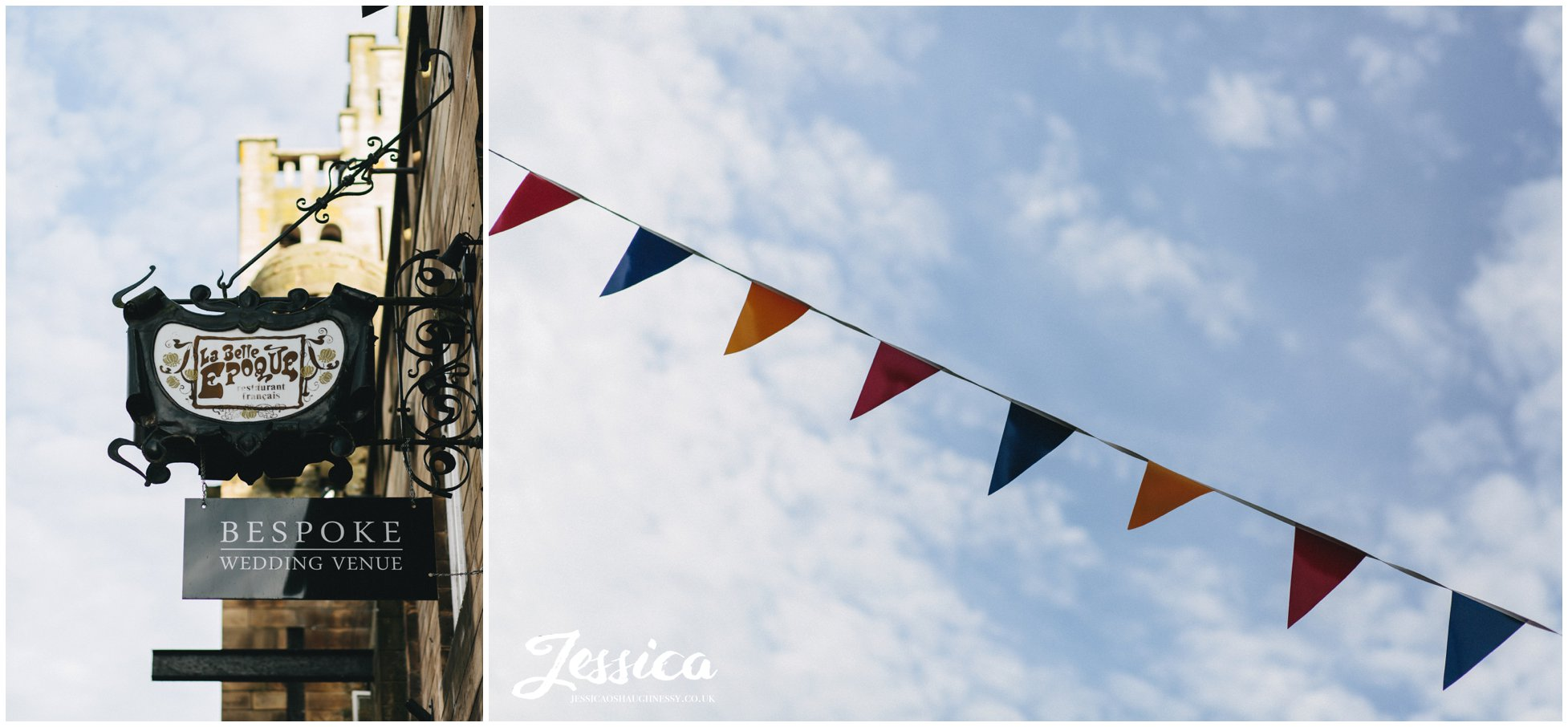 bunting over the knutsford high street outside belle epoque