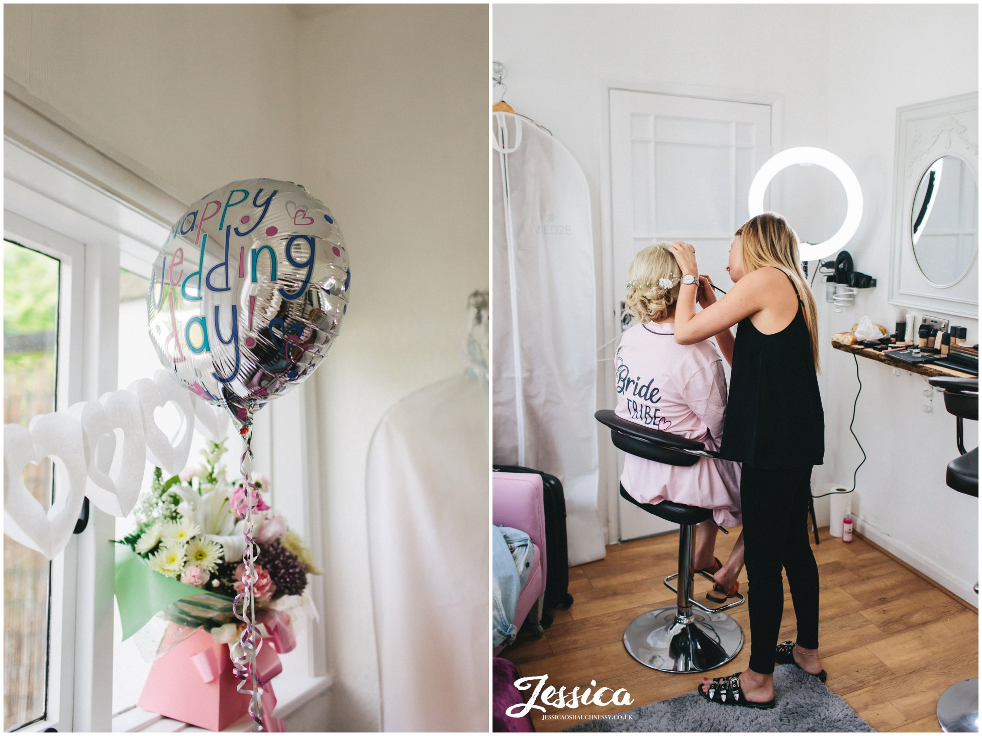 wedding day balloon decorates the bridal suite