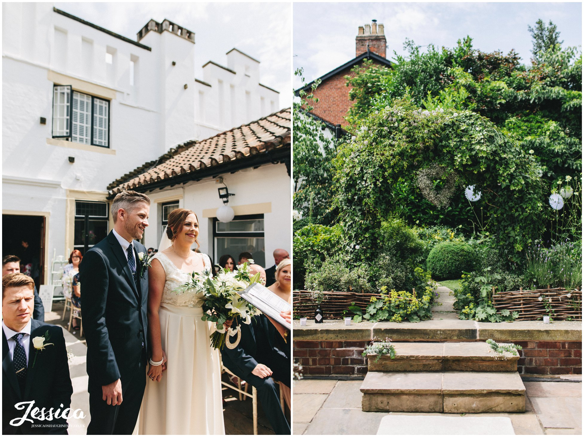 the bride & groom have their ceremony outdoors on the roof garden