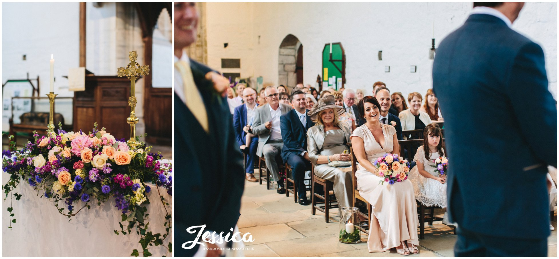 wedding guests smile during the touching wedding ceremony