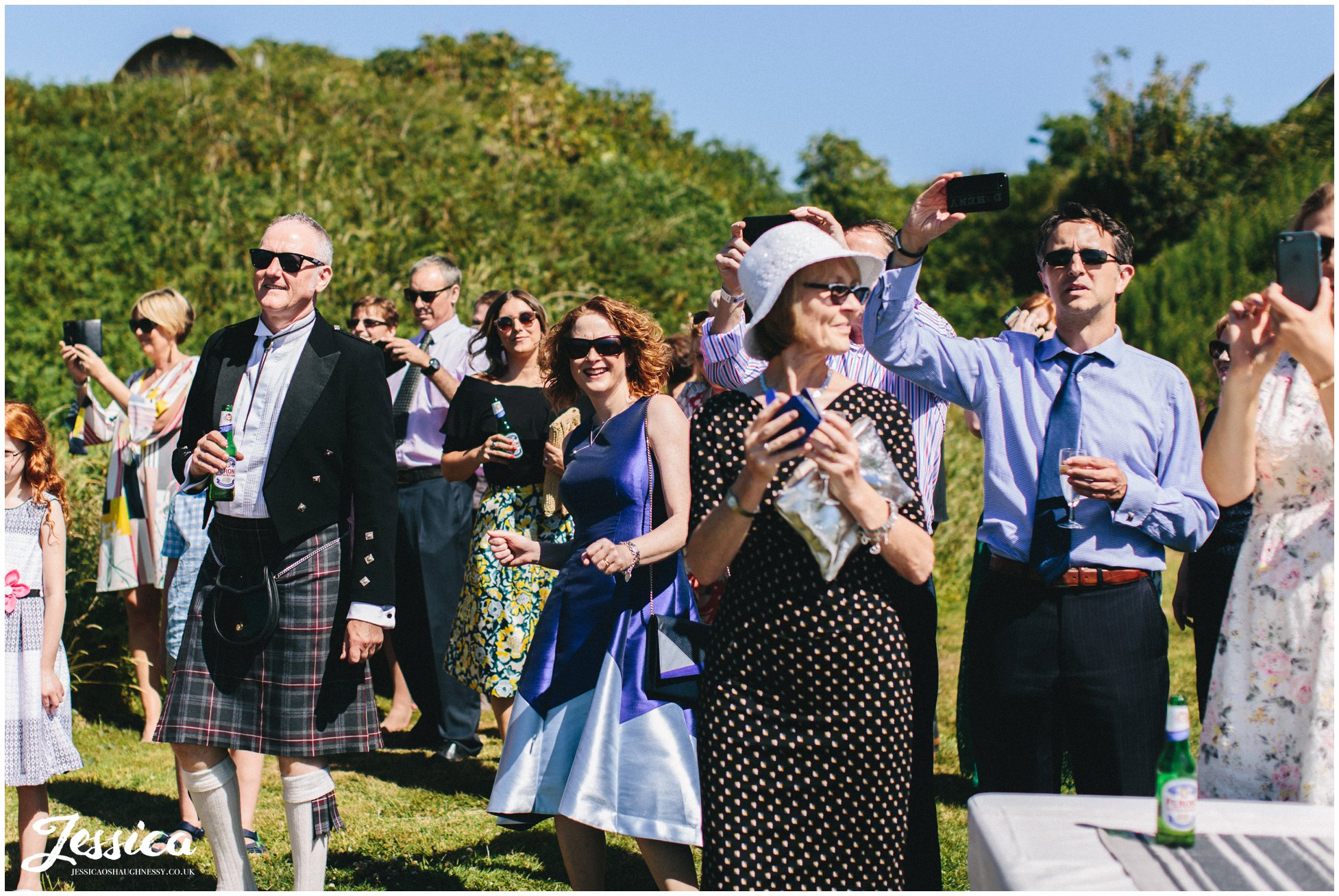 guests dance to the brass band playing