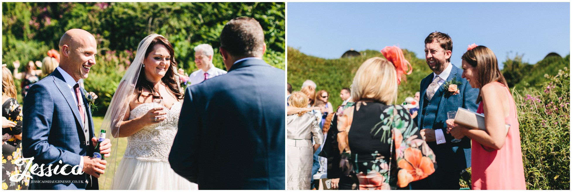 guests enjoy a champagne reception by the sea