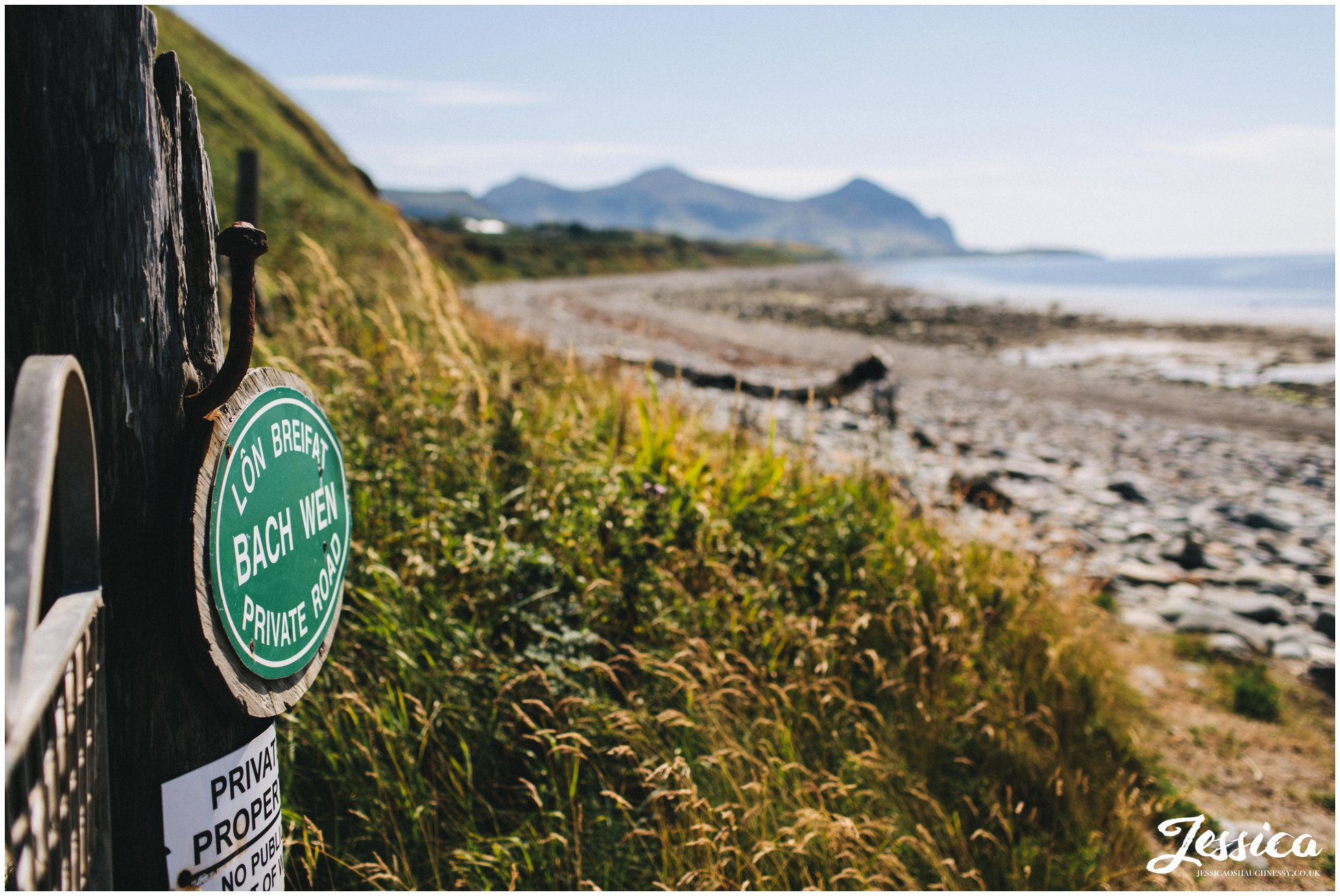Bach Wen Farm signpost on Caernarfon bay beach