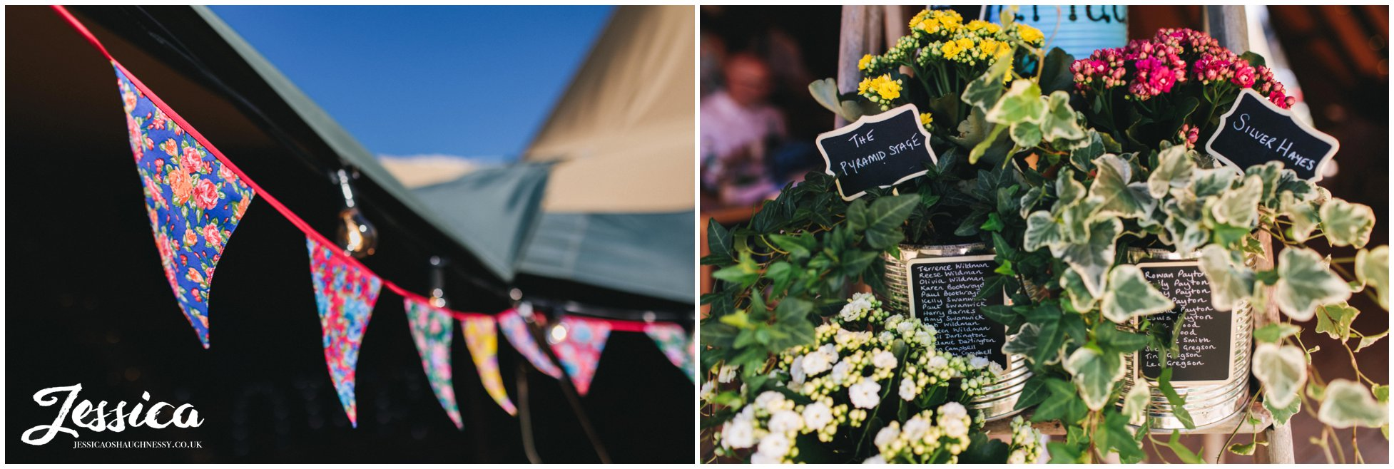 bunting & plants decorate the tipi at bach wen farm