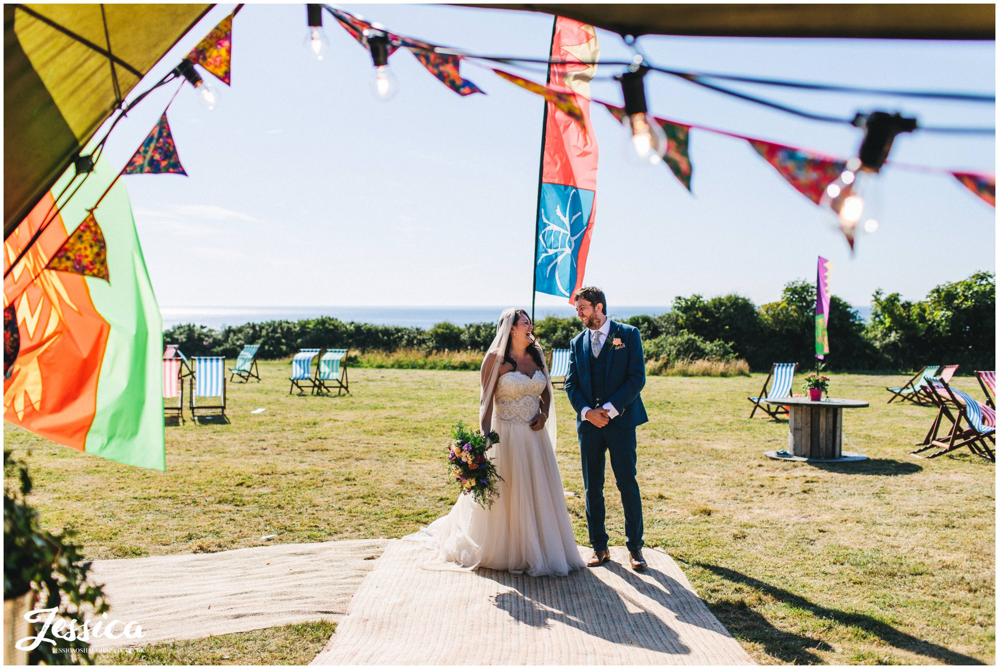 the couple wait outside the tipi to be officially announced in