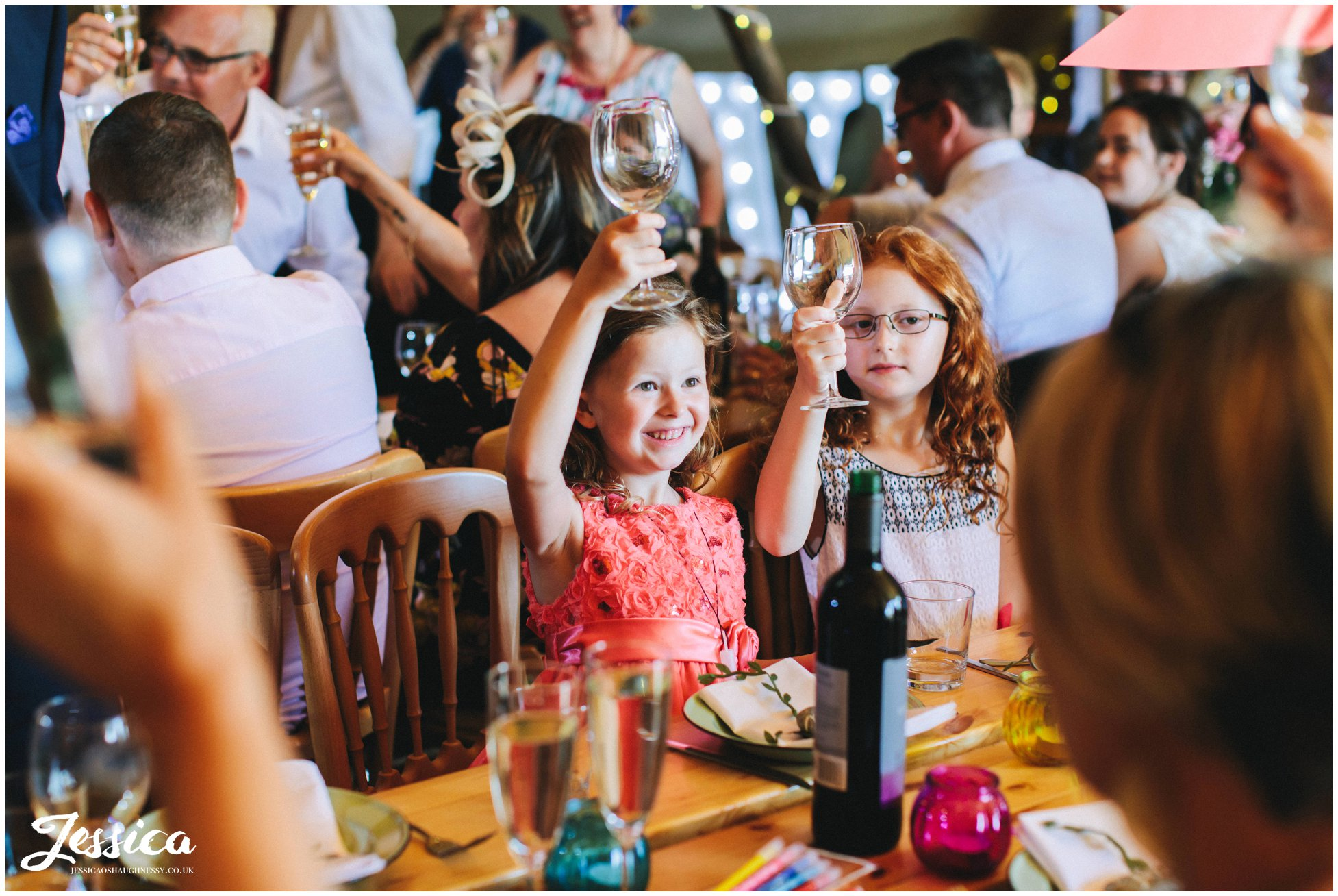 children cheer at the speech ends at the north wales wedding