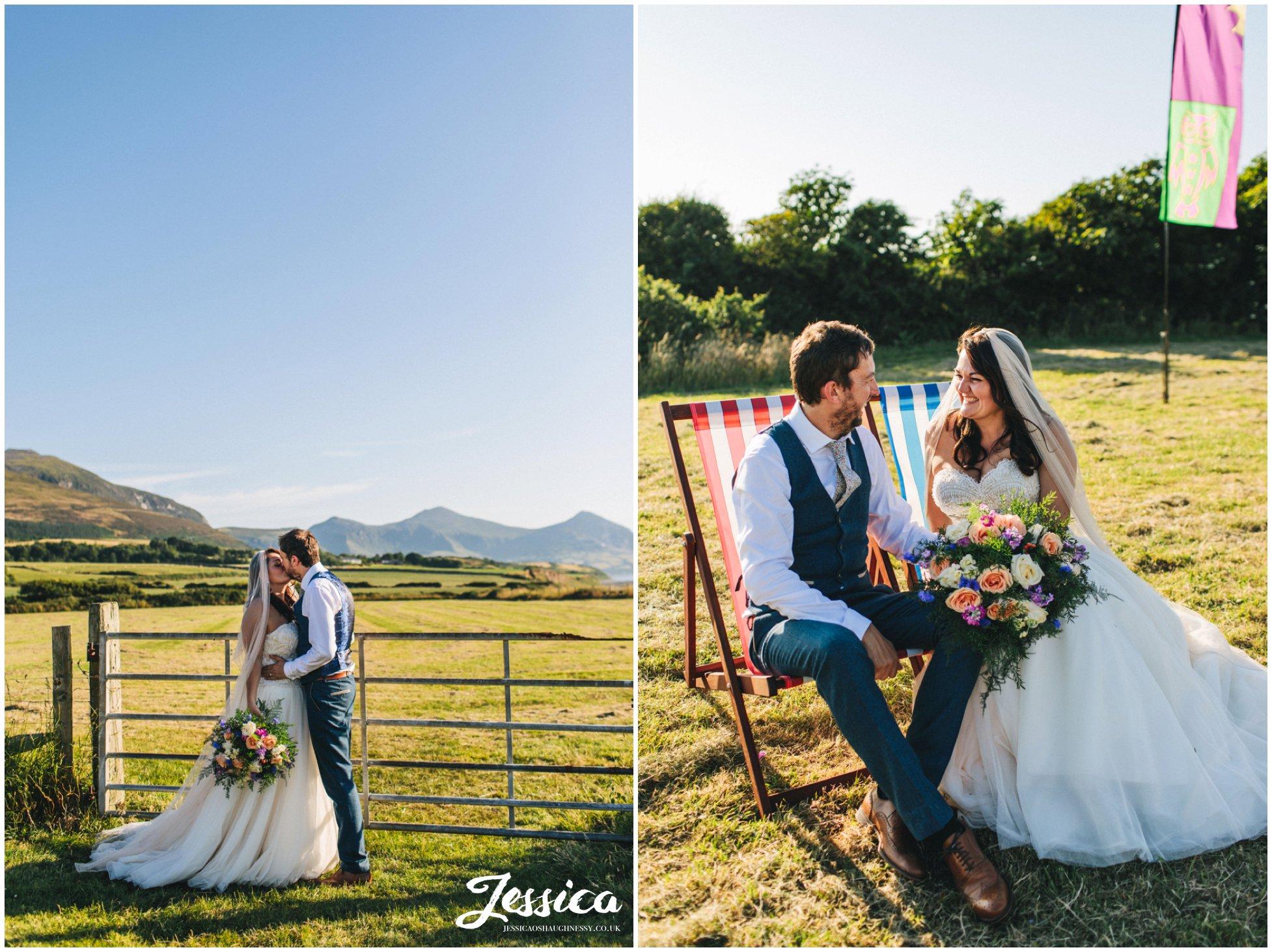 the new couple enjoy the sun at their north wales wedding in Caernarfon